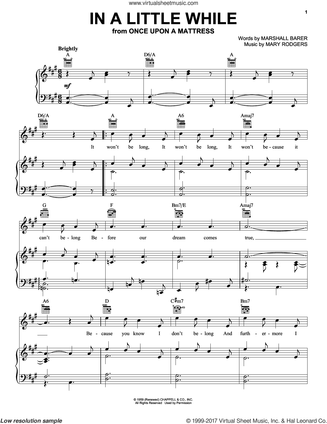 In A Little While sheet music for voice, piano or guitar by Rodgers & Barer, Marshall Barer and Mary Rodgers, intermediate skill level