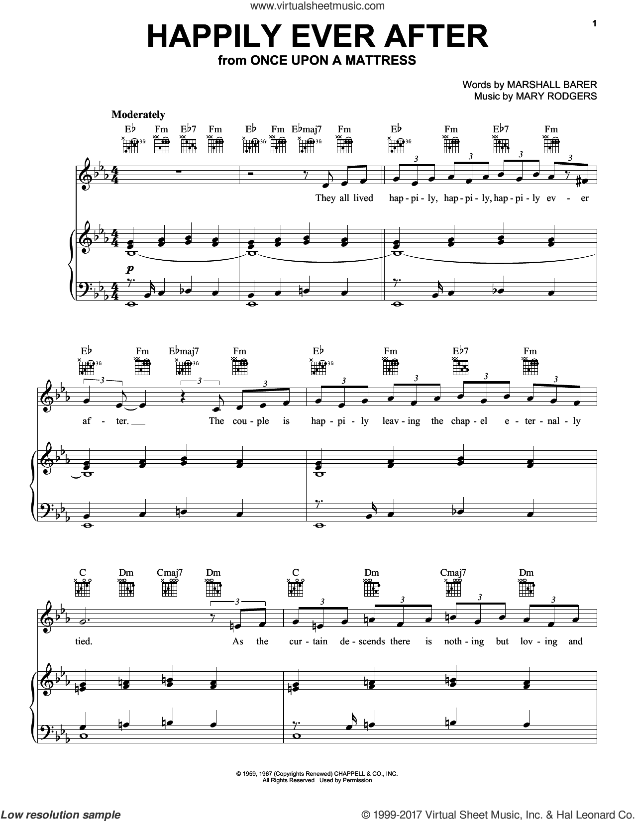 Happily Ever After sheet music for voice, piano or guitar by Rodgers & Barer, Marshall Barer and Mary Rodgers, intermediate skill level