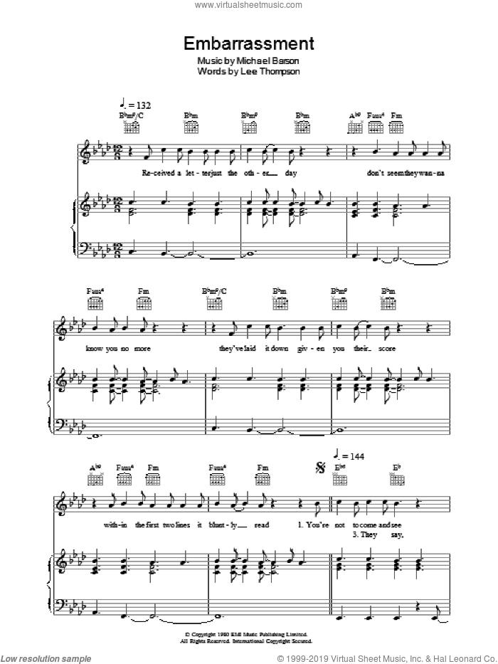 Embarrassment sheet music for voice, piano or guitar by Lee Thompson, Madness and Michael Barson. Score Image Preview.