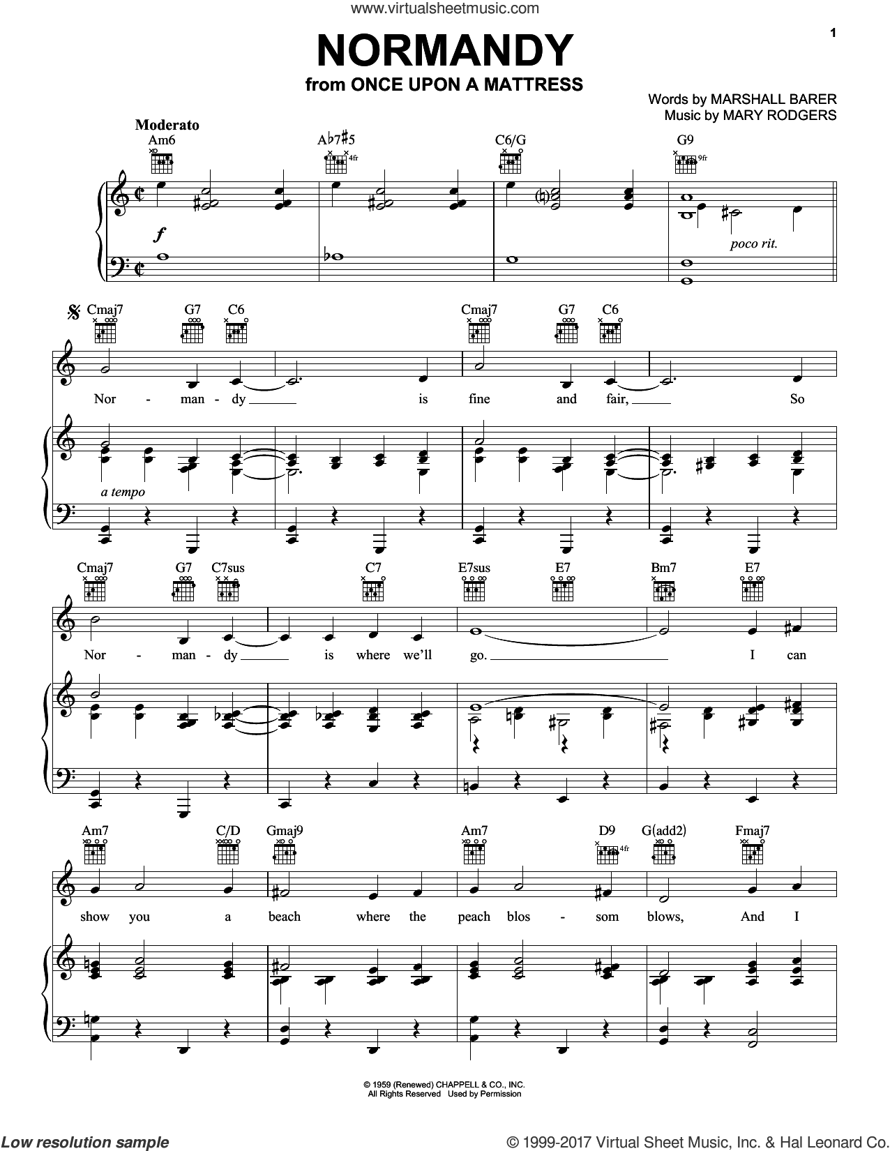 Normandy sheet music for voice, piano or guitar by Rodgers & Barer, Marshall Barer and Mary Rodgers, intermediate voice, piano or guitar. Score Image Preview.