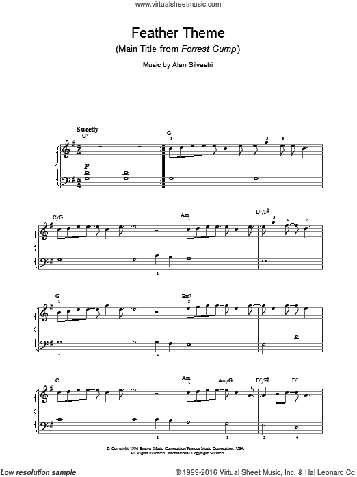 Feather Theme (Main Title from Forrest Gump) sheet music for piano solo by Alan Silvestri. Score Image Preview.