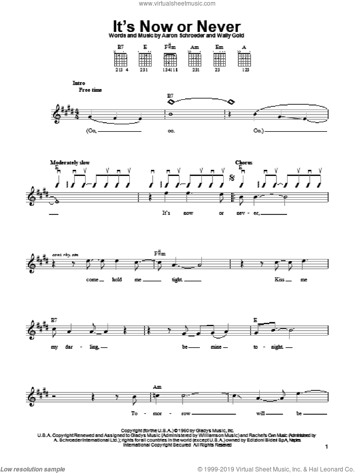It's Now Or Never sheet music for guitar solo (chords) by Elvis Presley, Aaron Schroeder and Wally Gold, easy guitar (chords)