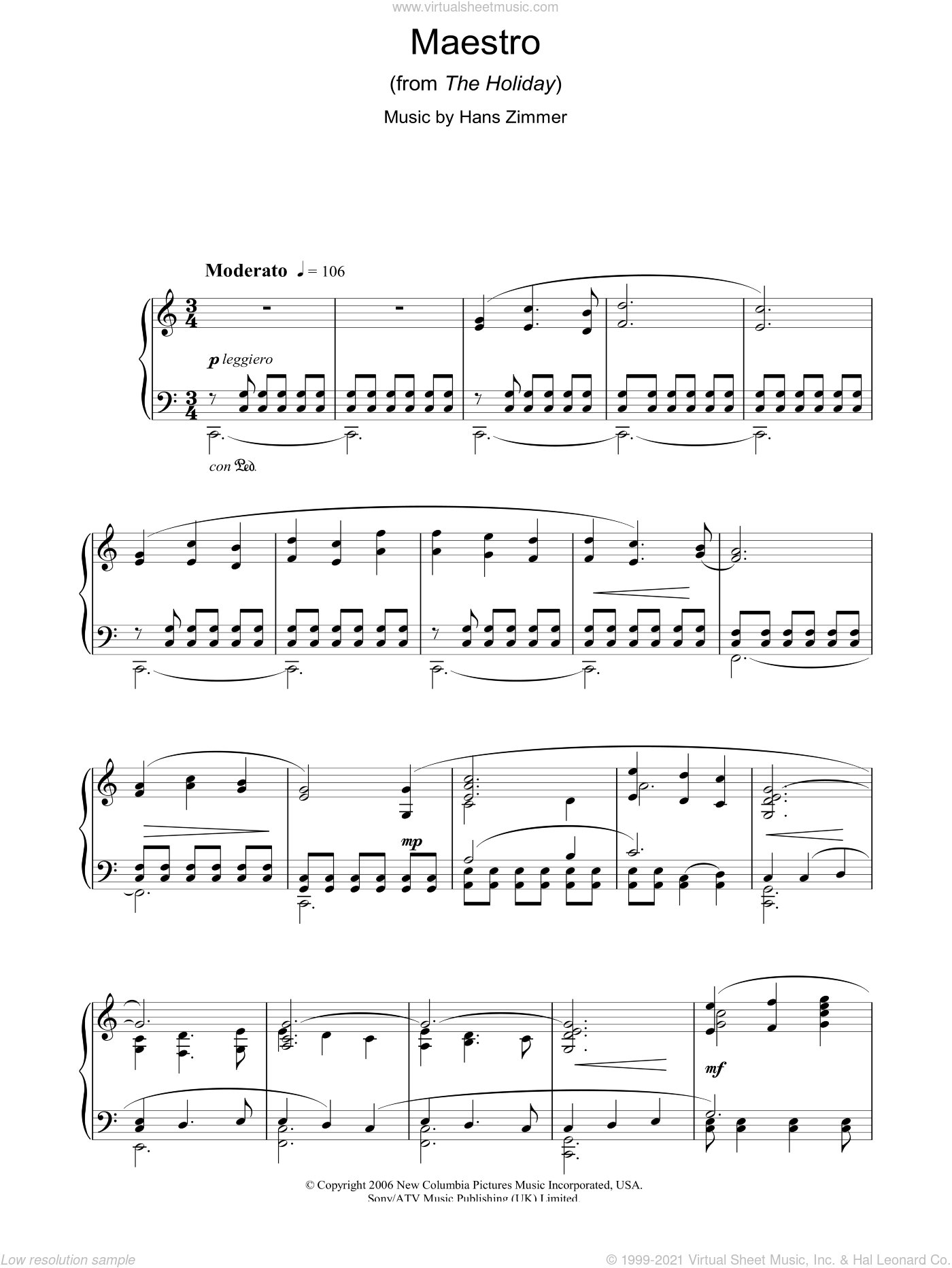 Maestro (from The Holiday) sheet music for piano solo by Hans Zimmer, intermediate skill level