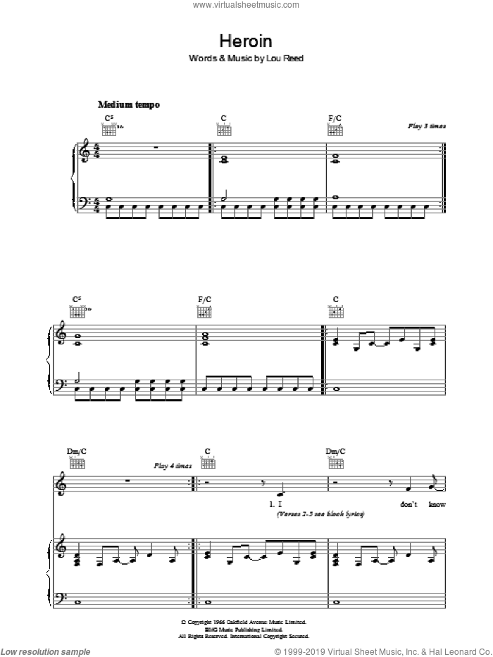 Heroin sheet music for voice, piano or guitar by Lou Reed, intermediate. Score Image Preview.