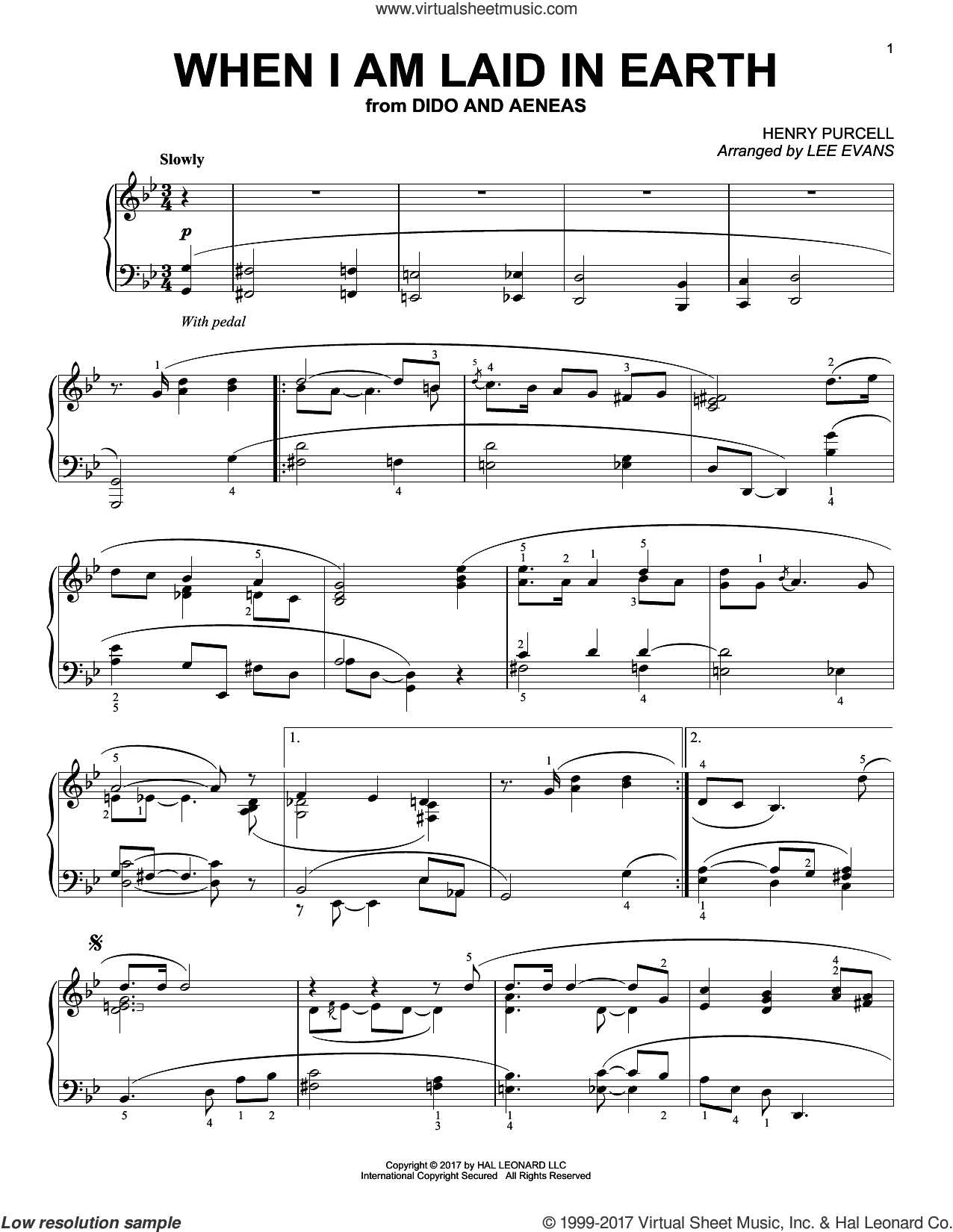 When I Am Laid In Earth, (intermediate) sheet music for piano solo by Henry Purcell and Lee Evans, classical score, intermediate skill level
