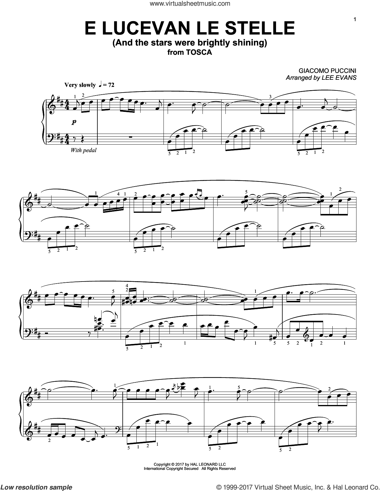 E lucevan le stelle from Tosca (Puccini) sheet music for piano solo by Giacomo Puccini and Lee Evans. Score Image Preview.