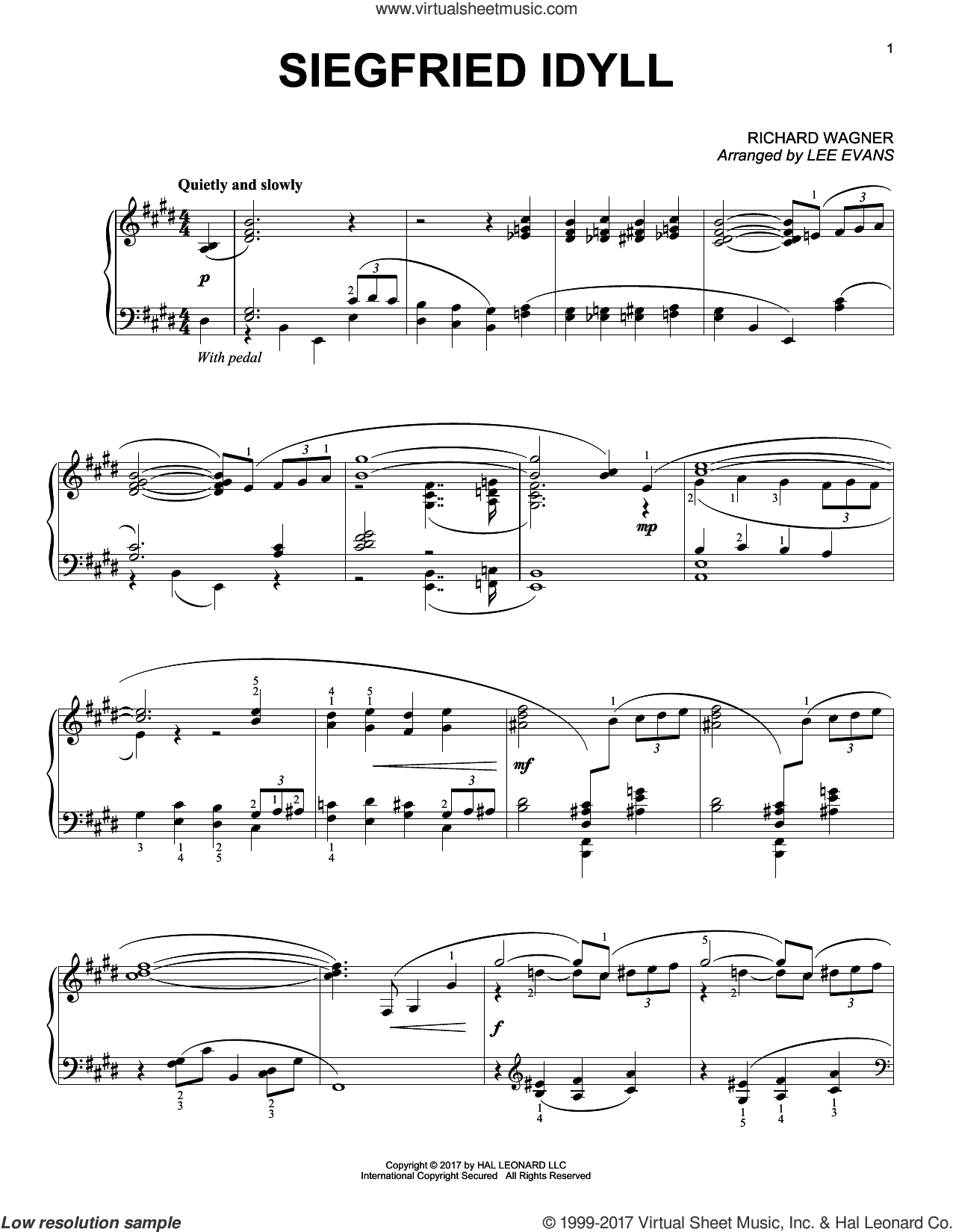 Siegried Idyll sheet music for piano solo by Richard Wagner and Lee Evans, classical score, intermediate skill level