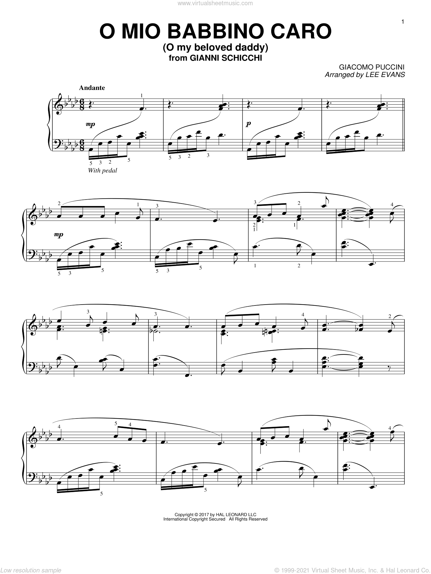 O Mio Babbino Caro sheet music for piano solo by Giacomo Puccini and Lee Evans, classical score, intermediate skill level