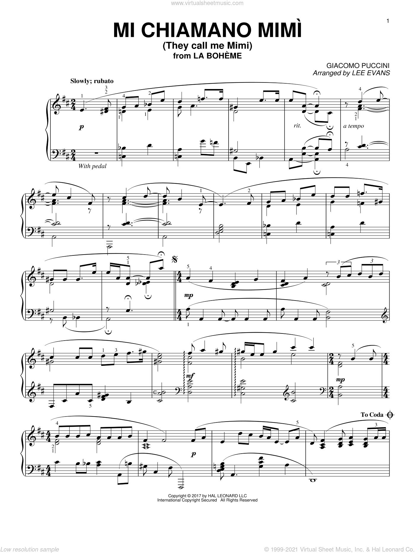 Me Chiamano Mimi sheet music for piano solo by Giacomo Puccini and Lee Evans, classical score, intermediate. Score Image Preview.