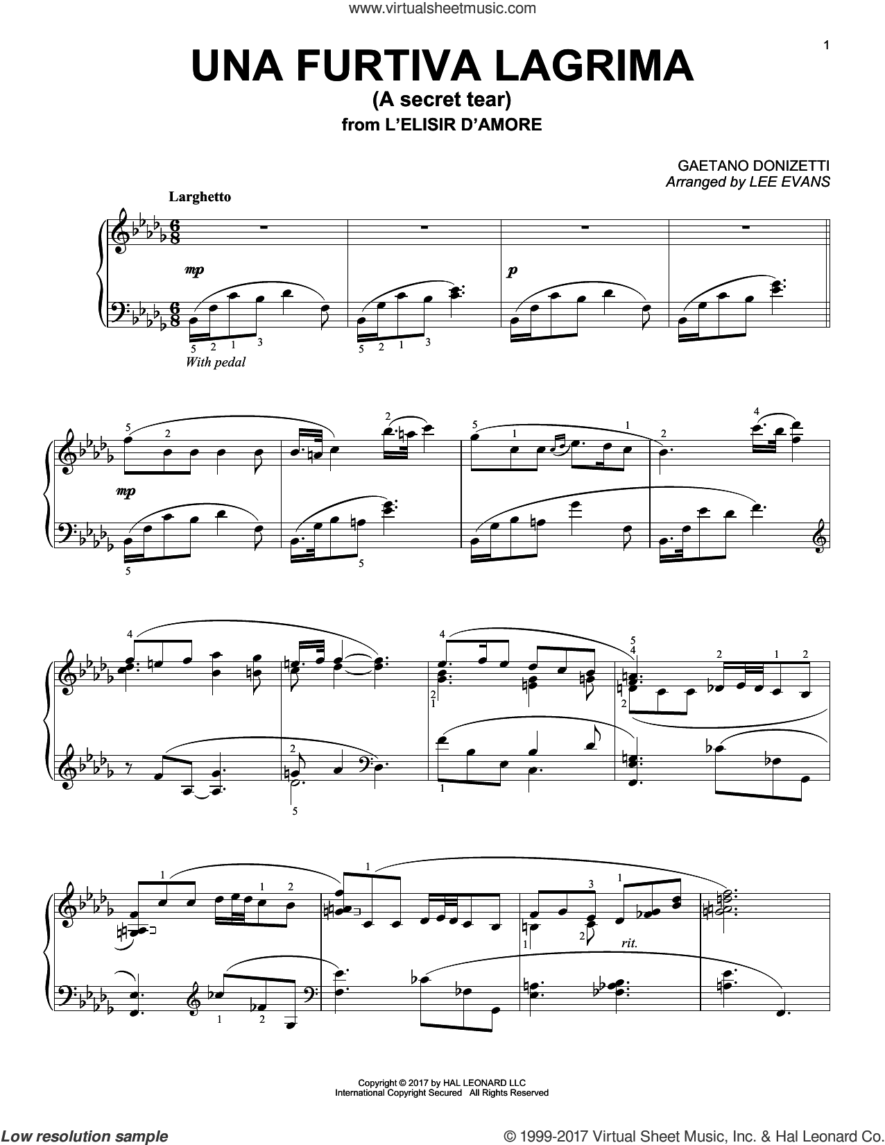 Una Furtiva Lagrima (The Elixir Of Love) sheet music for piano solo by Gaetano Donizetti and Lee Evans. Score Image Preview.