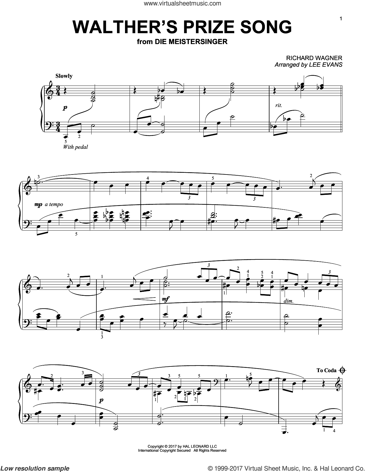 Walther's Prize Song sheet music for piano solo by Richard Wagner and Lee Evans, classical score, intermediate skill level