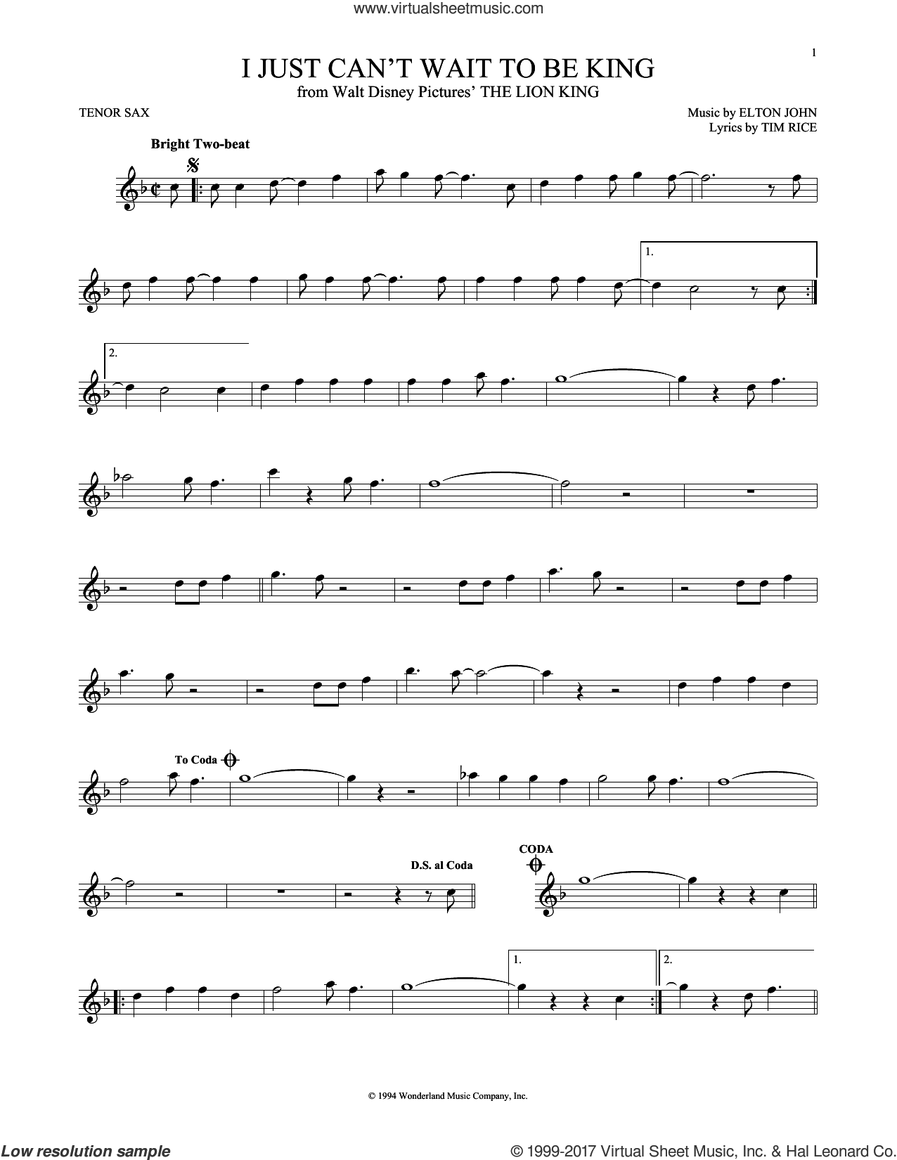 I Just Can't Wait To Be King (from The Lion King) sheet music for tenor saxophone solo by Elton John and Tim Rice, intermediate skill level