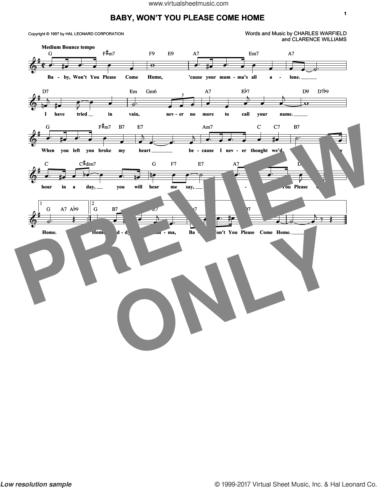 Baby, Won't You Please Come Home sheet music for voice and other instruments (fake book) by Clarence Williams, Bessie Smith and Charles Warfield, intermediate skill level