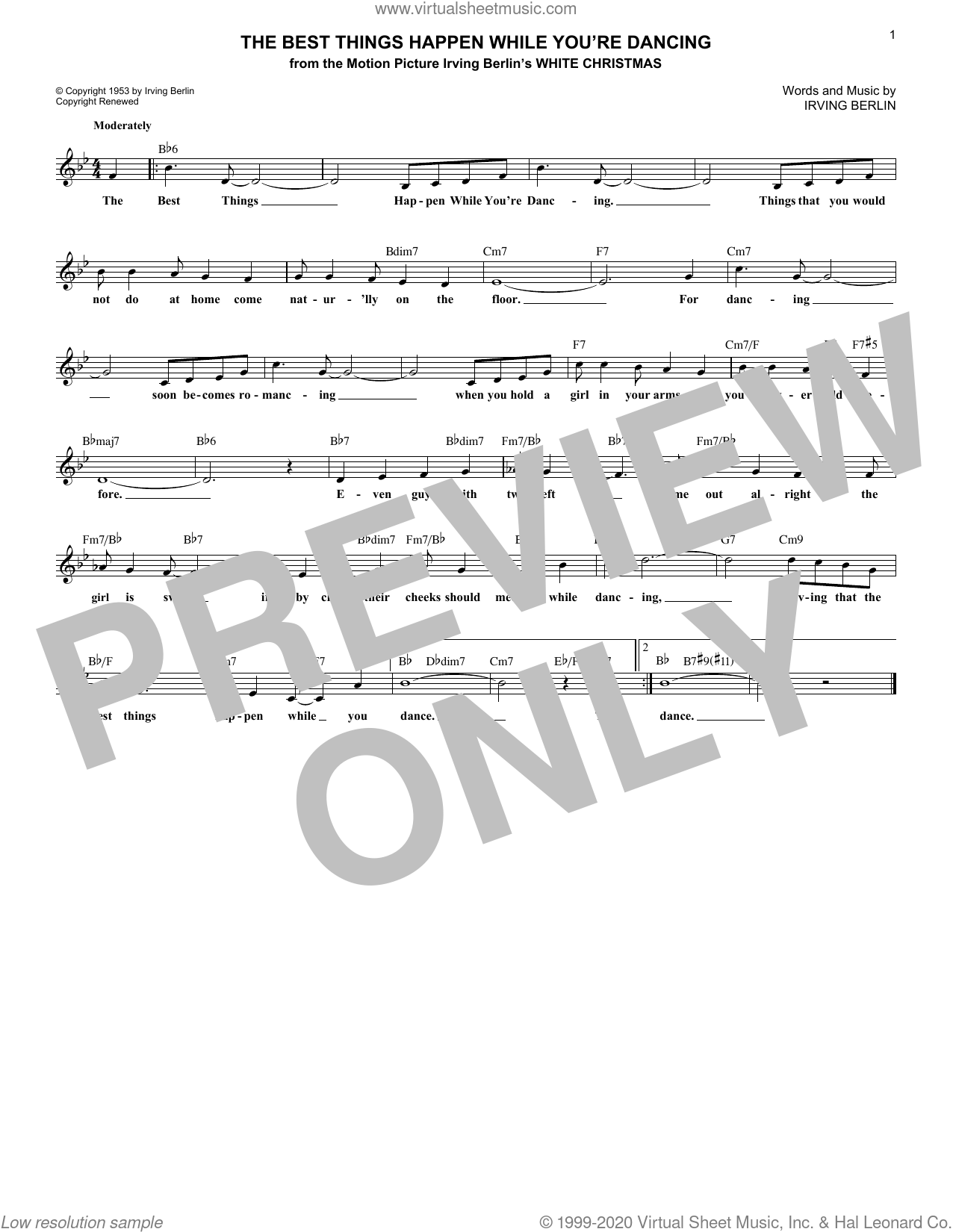 The Best Things Happen While You're Dancing sheet music for voice and other instruments (fake book) by Irving Berlin, intermediate skill level