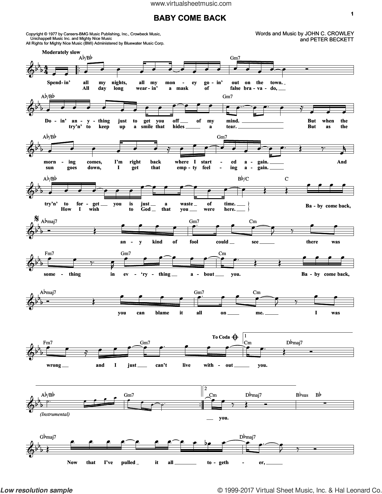 Baby Come Back sheet music for voice and other instruments (fake book) by Peter Beckett and Player. Score Image Preview.