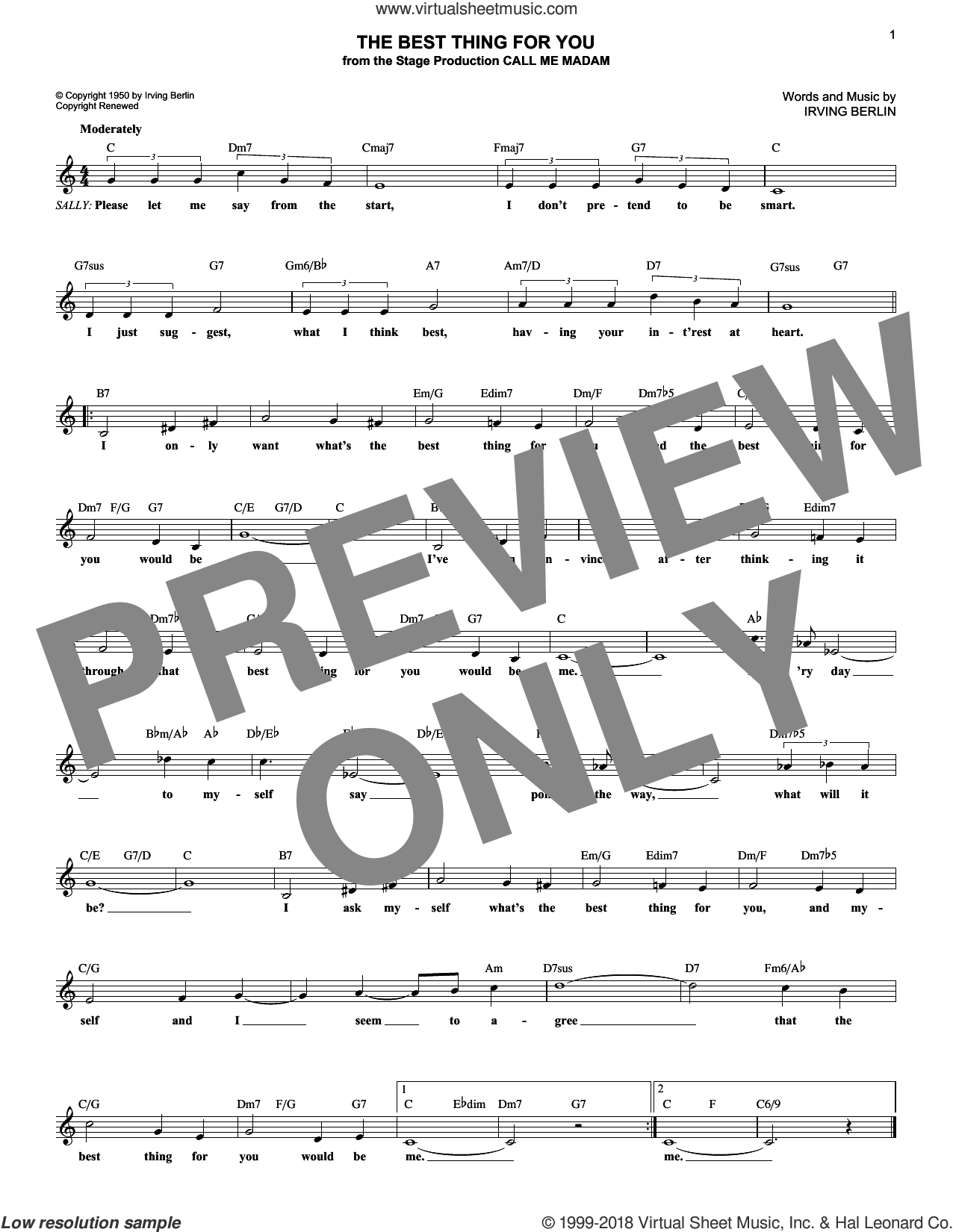 The Best Thing For You sheet music for voice and other instruments (fake book) by Irving Berlin and Dick Hyman, intermediate skill level