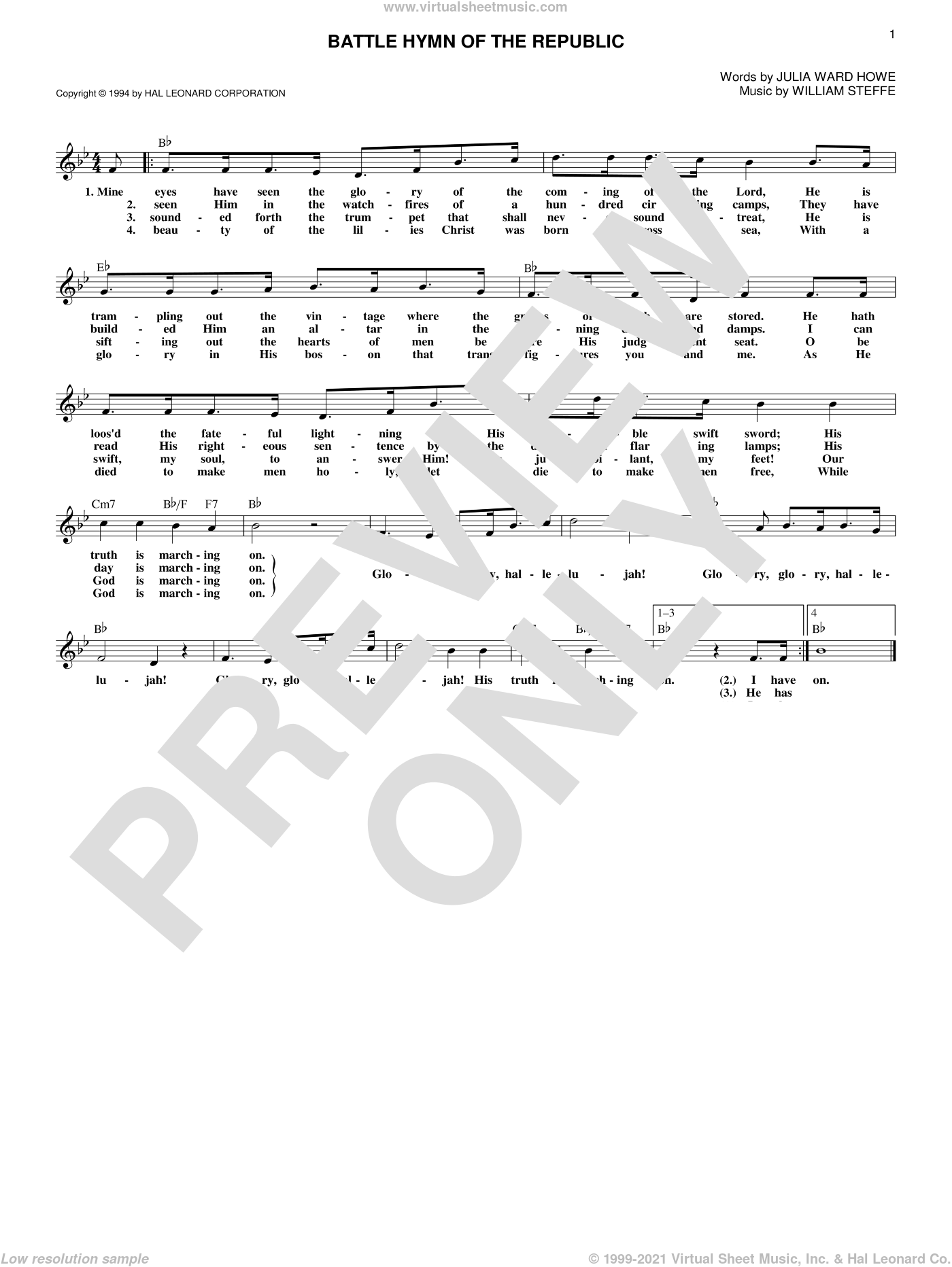 Battle Hymn Of The Republic sheet music for voice and other instruments (fake book) by William Steffe and Julia Ward Howe. Score Image Preview.