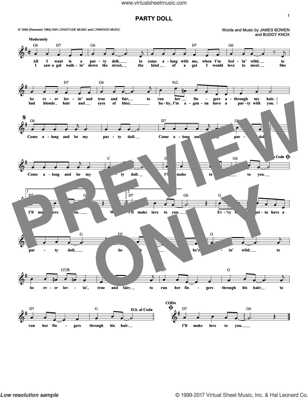 Party Doll sheet music for voice and other instruments (fake book) by James Bowen and Buddy Knox. Score Image Preview.