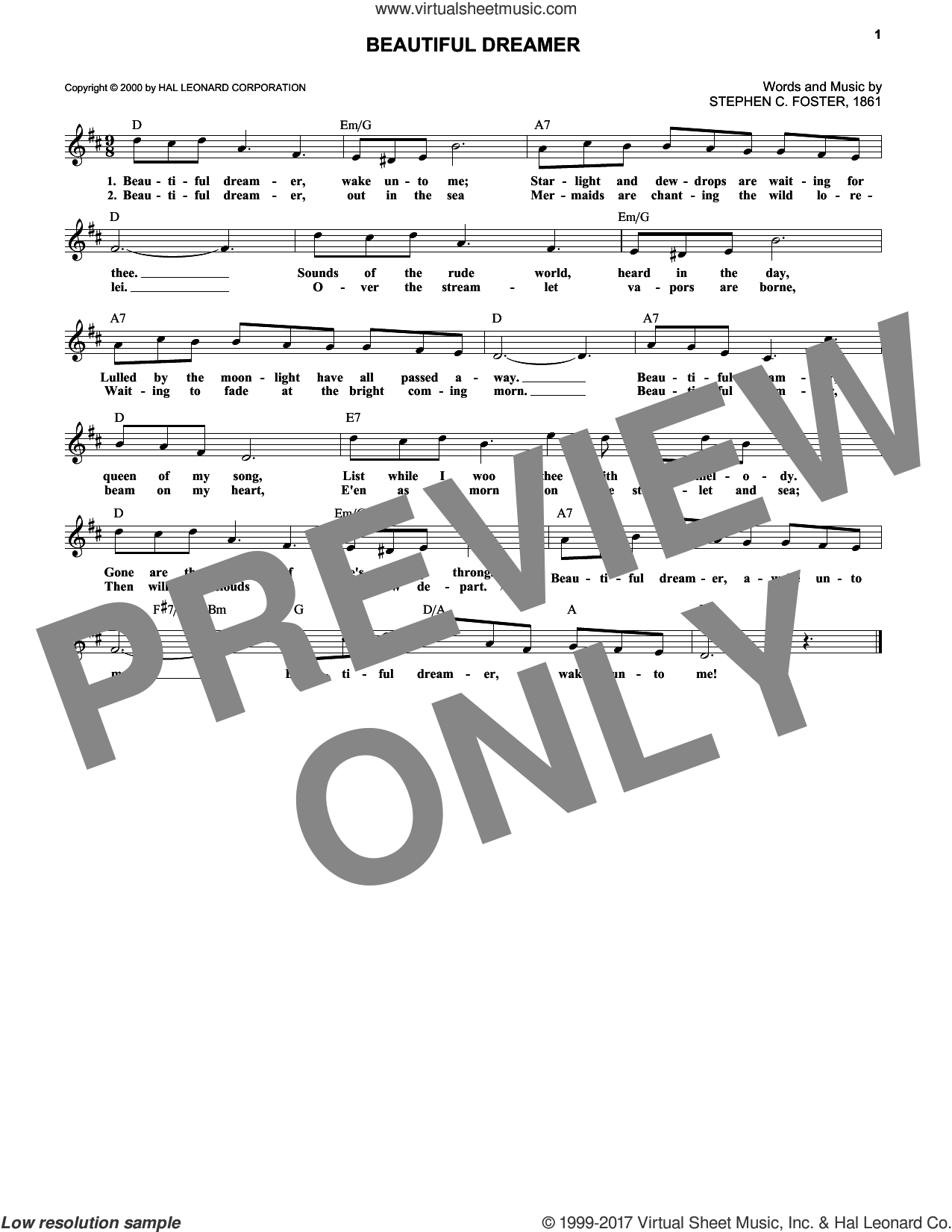 Beautiful Dreamer sheet music for voice and other instruments (fake book) by Stephen Foster, intermediate skill level