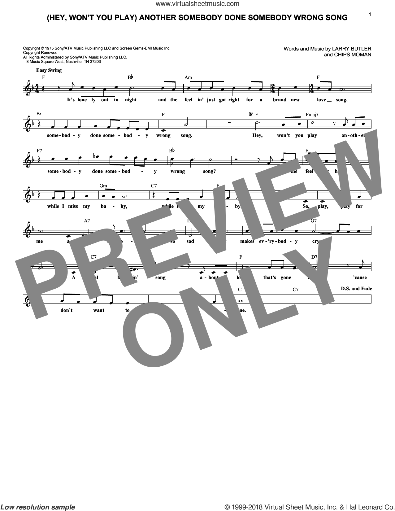 (Hey, Won't You Play) Another Somebody Done Somebody Wrong Song sheet music for voice and other instruments (fake book) by B.J. Thomas, Chips Moman and Larry Butler, intermediate skill level