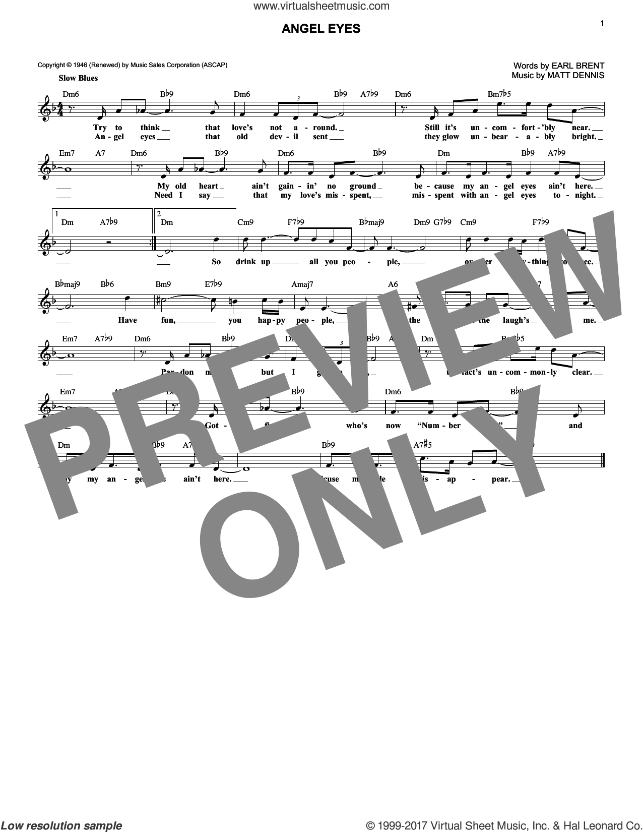 Angel Eyes sheet music for voice and other instruments (fake book) by Matt Dennis and Earl Brent, intermediate. Score Image Preview.