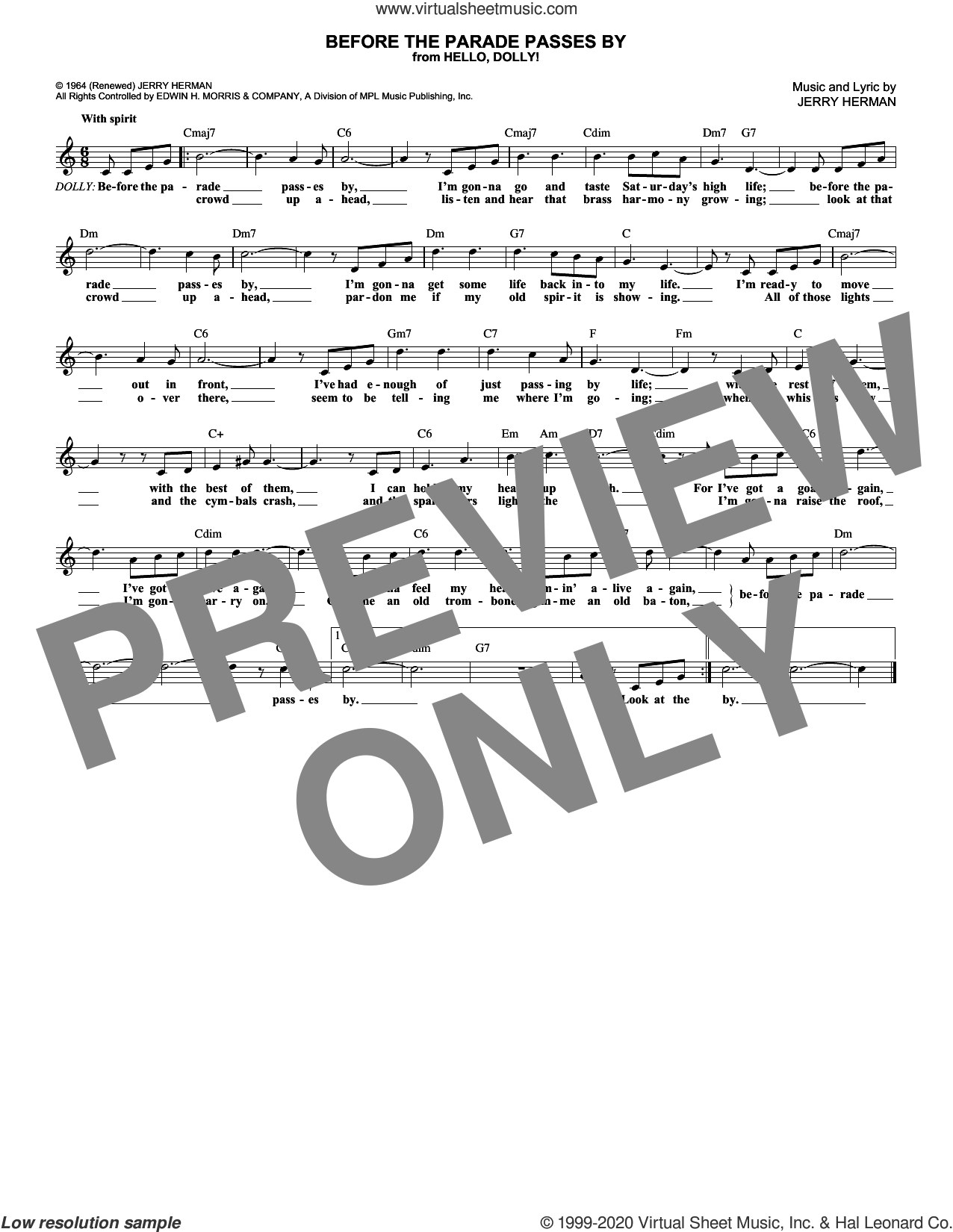 Before The Parade Passes By sheet music for voice and other instruments (fake book) by Jerry Herman, intermediate skill level