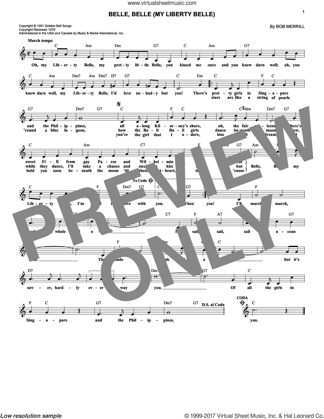 Belle, Belle (My Liberty Belle) sheet music for voice and other instruments (fake book) by Bob Merrill, intermediate. Score Image Preview.