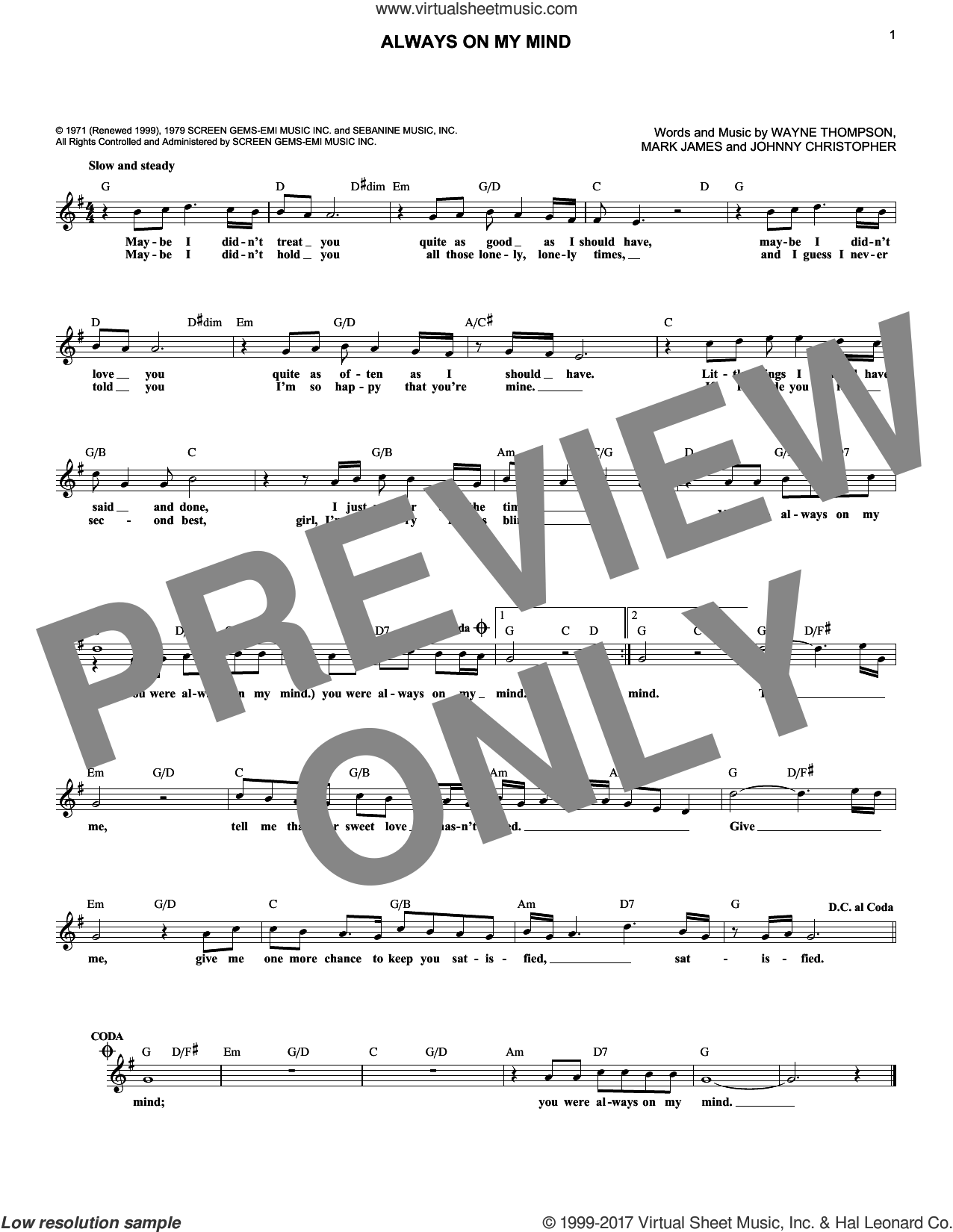 Always On My Mind sheet music for voice and other instruments (fake book) by Wayne Thompson, Elvis Presley, Michael Buble, The Pet Shop Boys, Willie Nelson, Johnny Christopher and Mark James, intermediate skill level