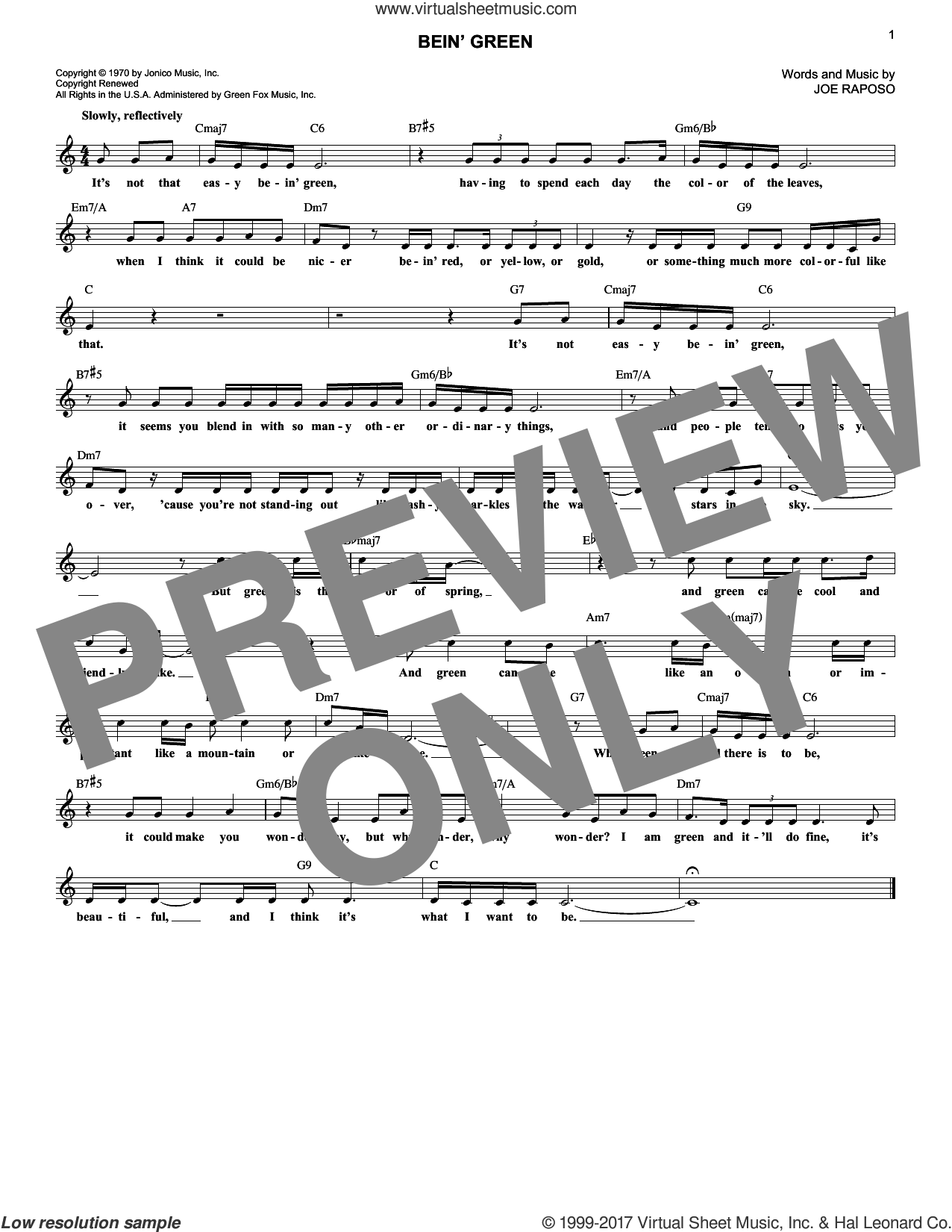 Bein' Green sheet music for voice and other instruments (fake book) by Joe Raposo, Frank Sinatra and Kermit The Frog, intermediate skill level