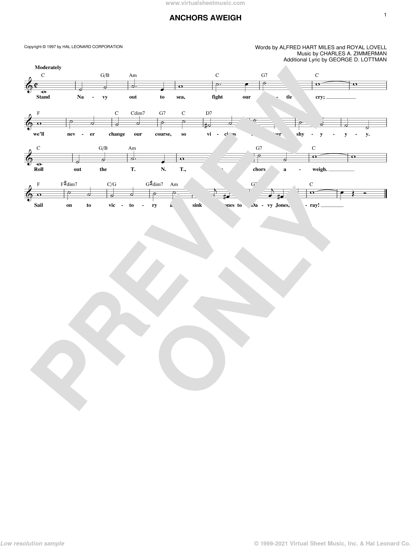Anchors Aweigh sheet music for voice and other instruments (fake book) by Royal Lovell, Charles A. Zimmerman and George D. Lottman. Score Image Preview.