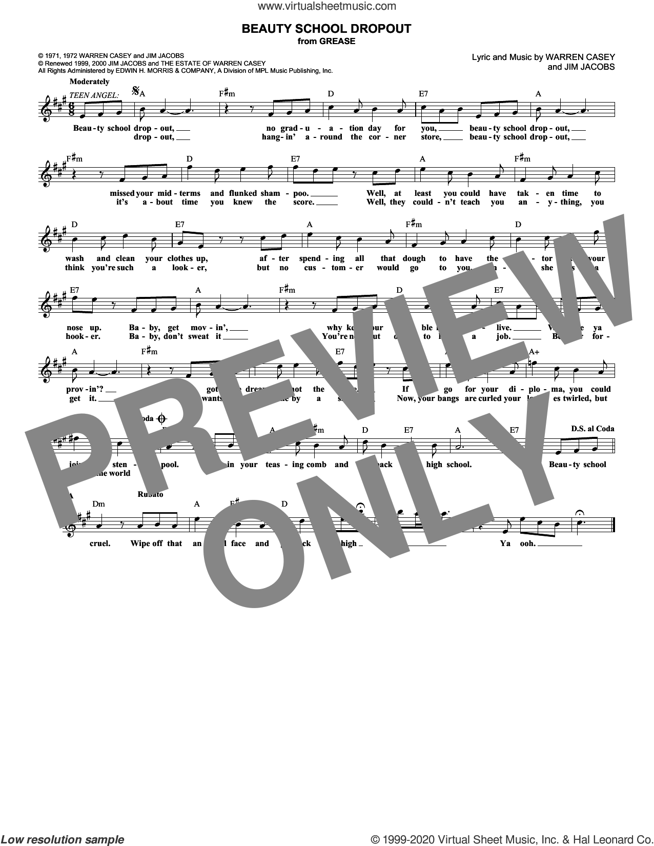 Beauty School Dropout sheet music for voice and other instruments (fake book) by Jim Jacobs and Warren Casey, classical score, intermediate skill level