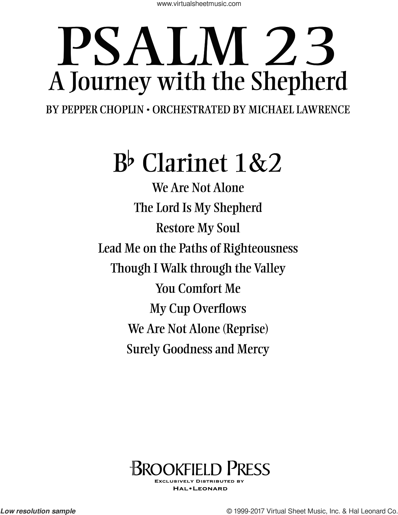 Psalm 23, a journey with the shepherd sheet music for orchestra/band (Bb clarinet 1,2) by Pepper Choplin. Score Image Preview.