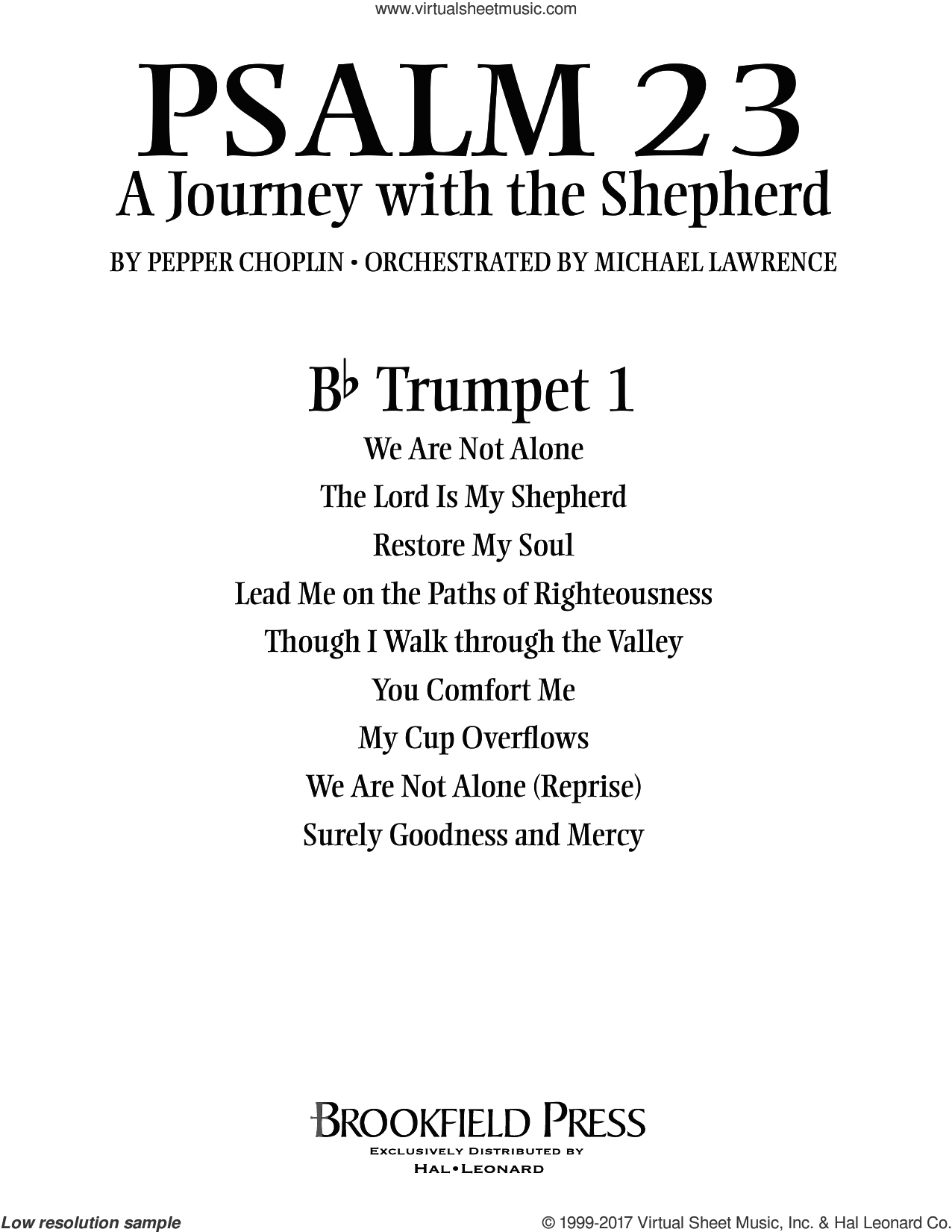 Psalm 23, a journey with the shepherd sheet music for orchestra/band (Bb trumpet 1) by Pepper Choplin. Score Image Preview.