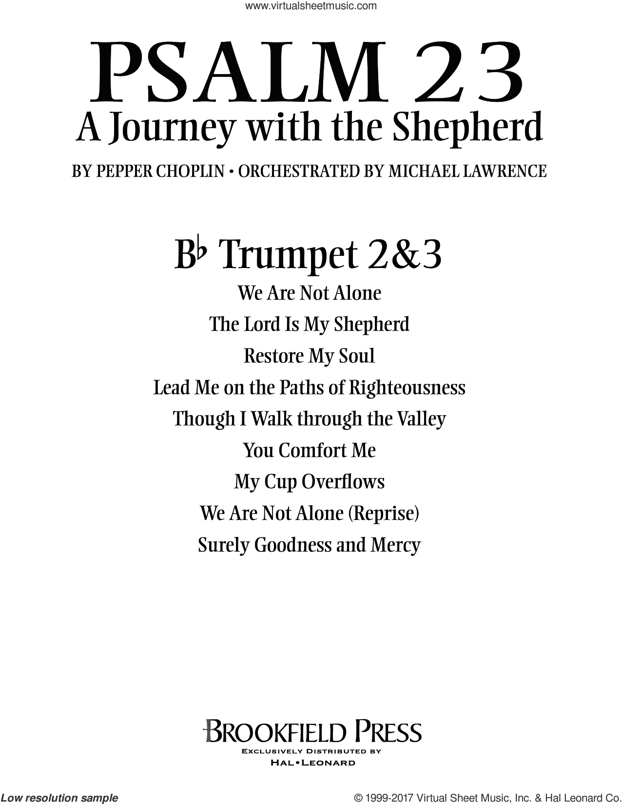 Psalm 23, a journey with the shepherd sheet music for orchestra/band (Bb trumpet 2,3) by Pepper Choplin, intermediate. Score Image Preview.
