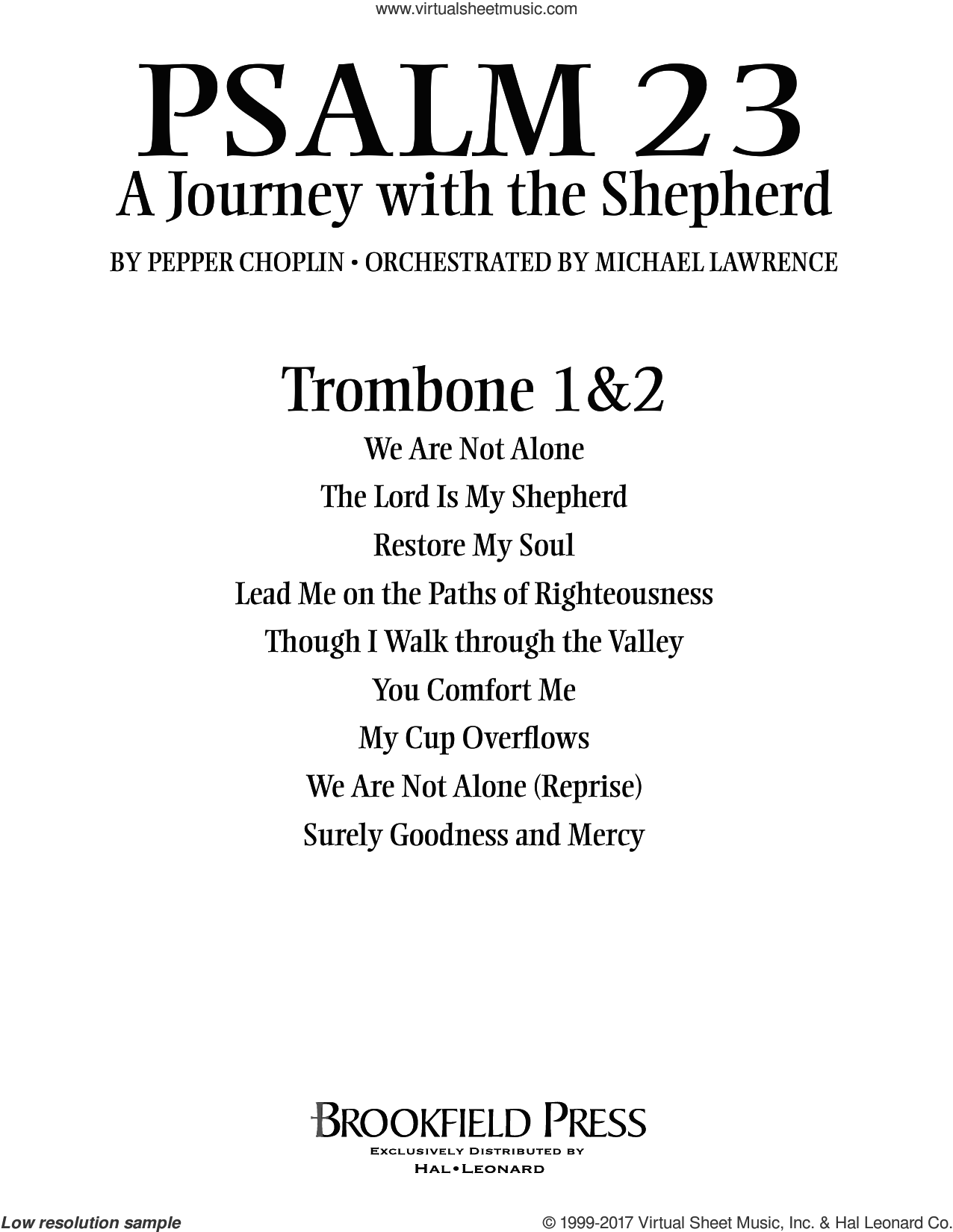 Psalm 23, a journey with the shepherd sheet music for orchestra/band (trombone 1 and 2) by Pepper Choplin. Score Image Preview.