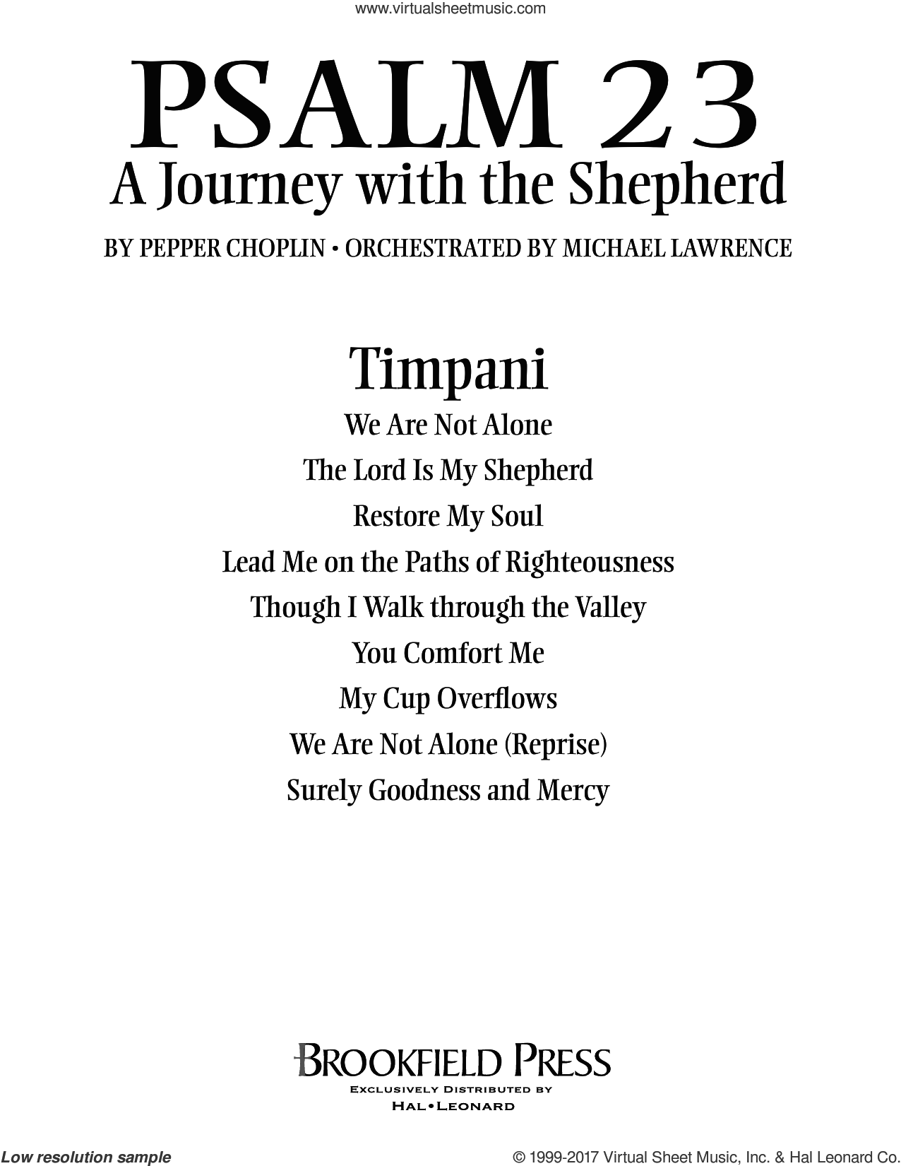 Psalm 23, a journey with the shepherd sheet music for orchestra/band (timpani) by Pepper Choplin. Score Image Preview.