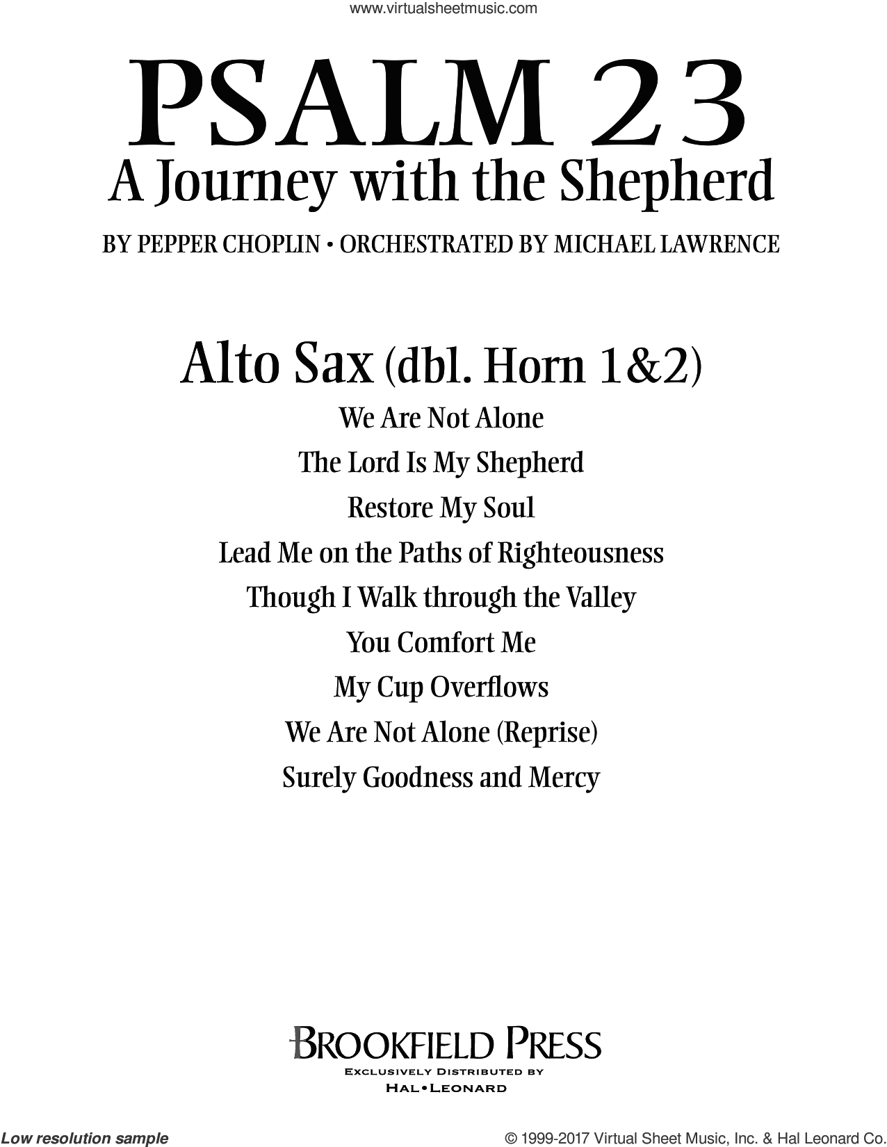 Psalm 23, a journey with the shepherd sheet music for orchestra/band (alto sax, sub. horn) by Pepper Choplin, intermediate skill level