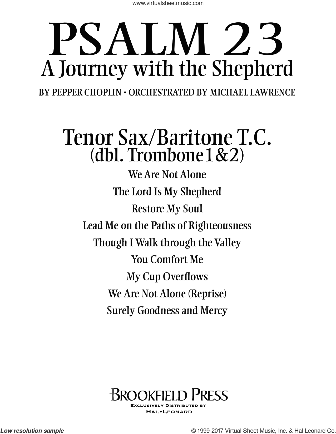 Psalm 23, a journey with the shepherd sheet music for orchestra/band (tenor sax/baritc, sub tbn 1-2) by Pepper Choplin, intermediate. Score Image Preview.