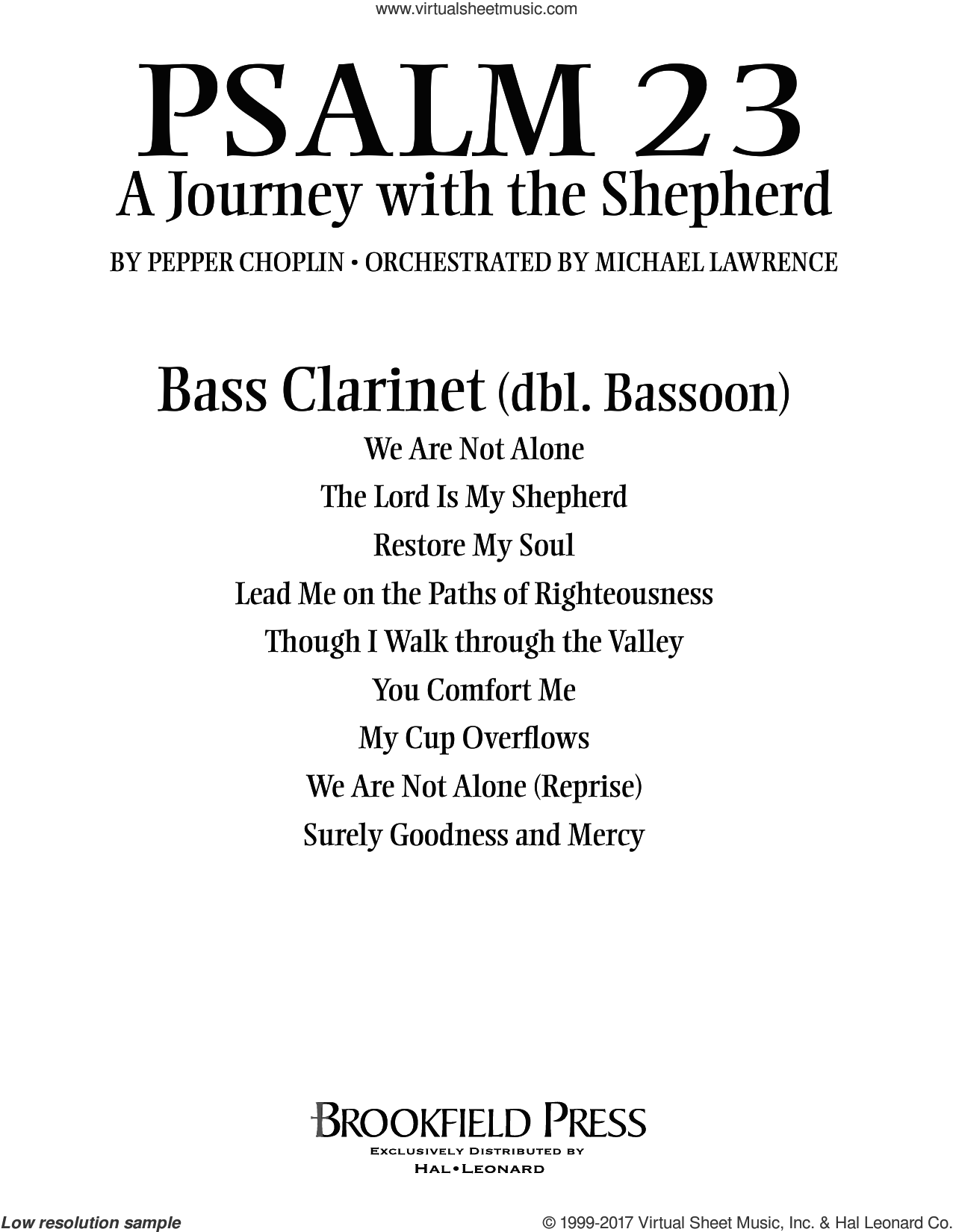 Psalm 23, a journey with the shepherd sheet music for orchestra/band (bass clarinet, sub. bassoon) by Pepper Choplin. Score Image Preview.
