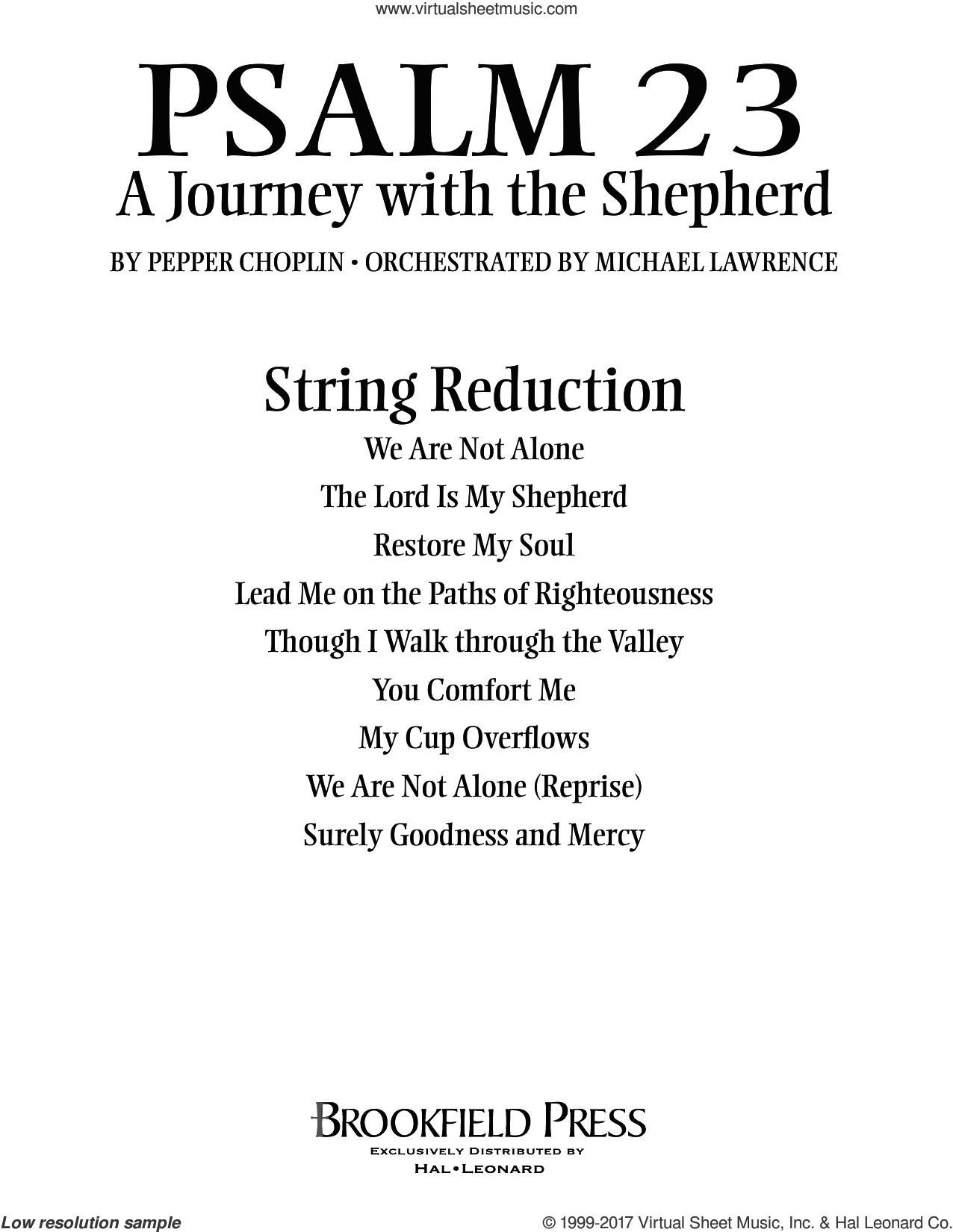 Psalm 23, a journey with the shepherd sheet music for orchestra/band (keyboard string reduction) by Pepper Choplin. Score Image Preview.