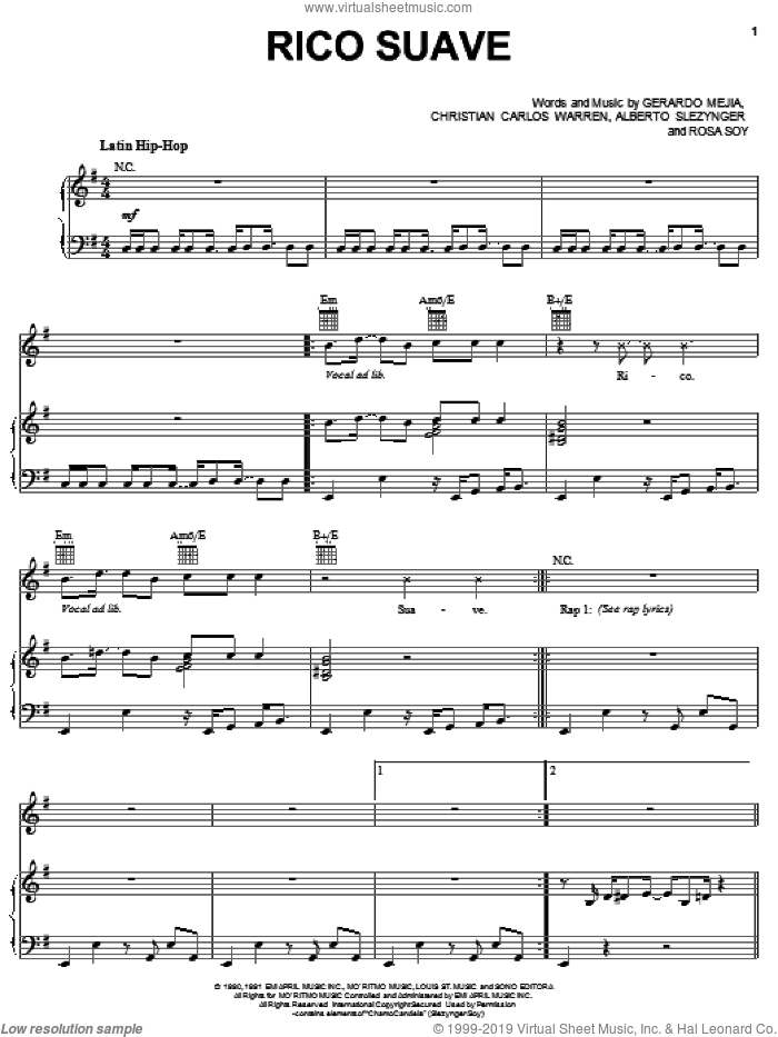 Rico Suave sheet music for voice, piano or guitar by Gerardo. Score Image Preview.