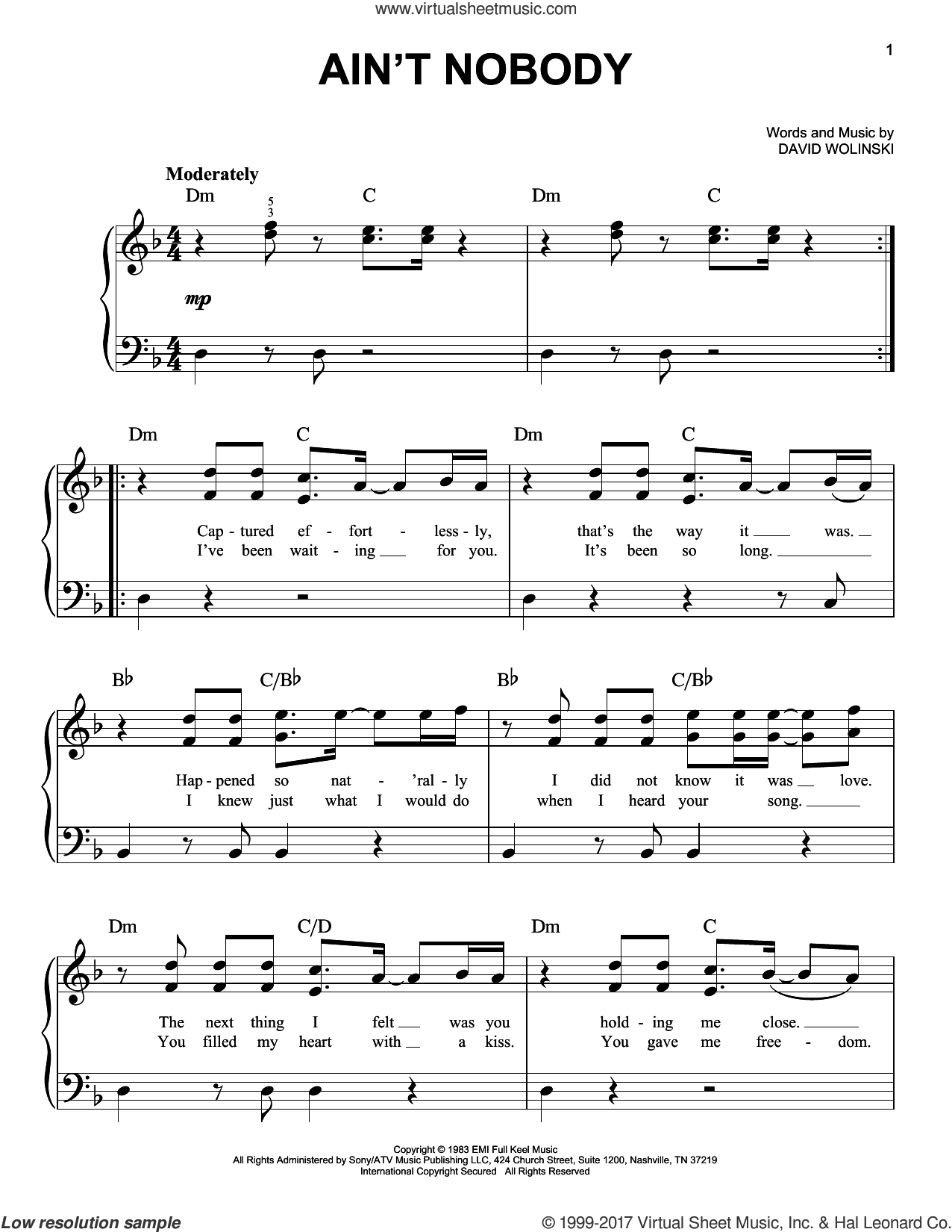 Ain't Nobody sheet music for piano solo by Chaka Khan and David Wolinski, easy skill level