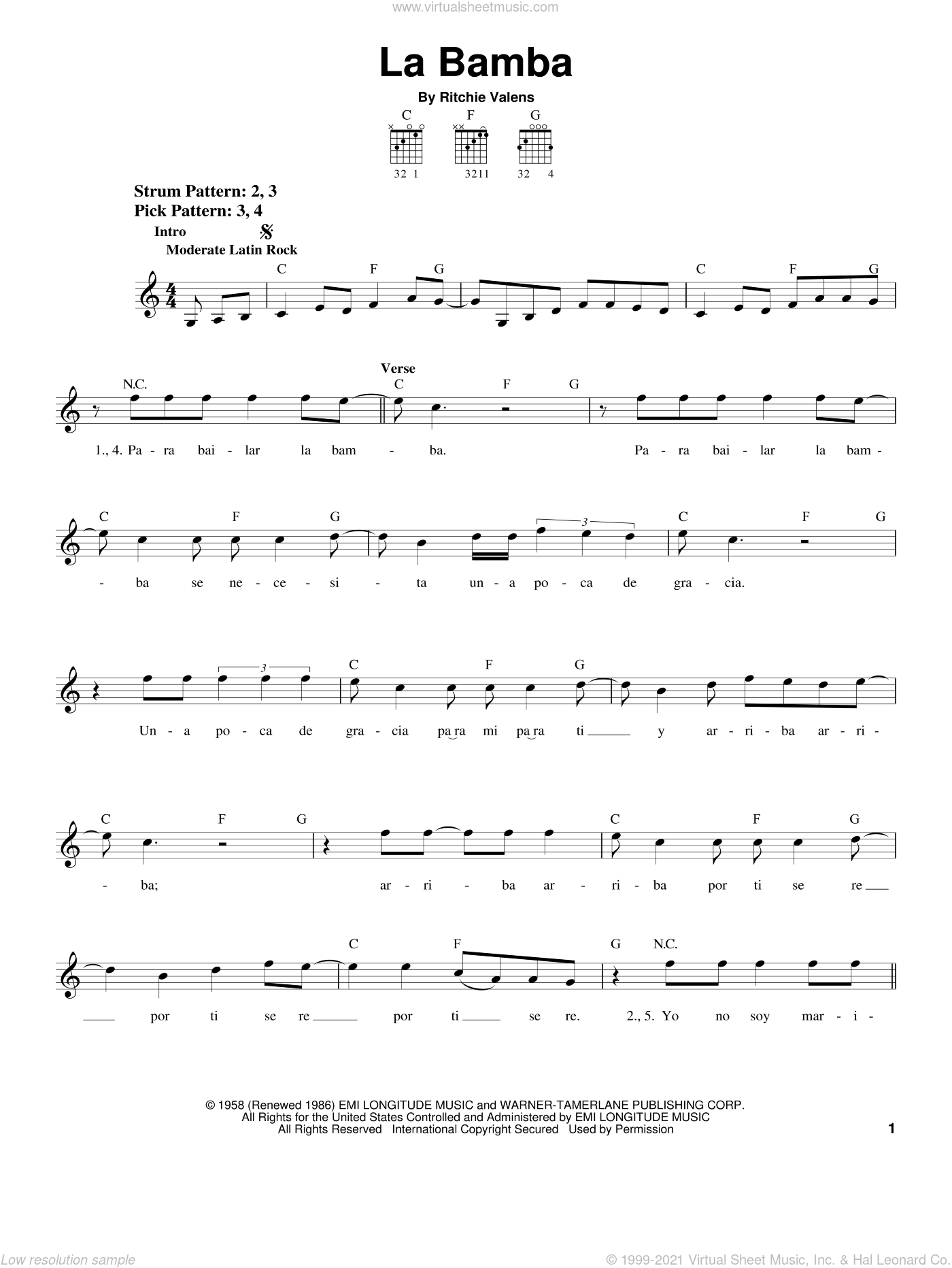 La Bamba sheet music for guitar solo (chords) by Los Lobos and Ritchie Valens. Score Image Preview.