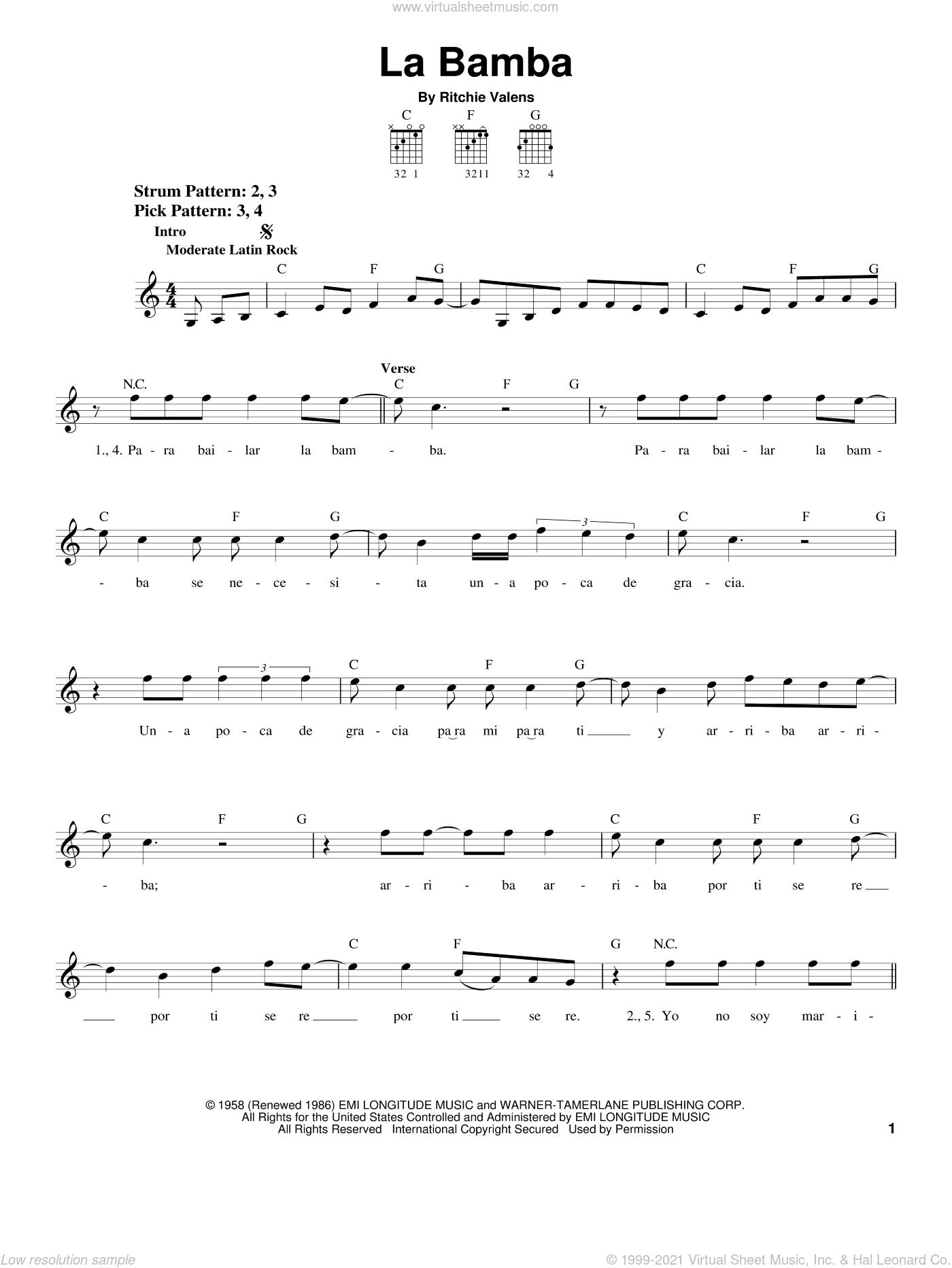 Lobos   La Bamba sheet music for guitar solo chords [PDF]