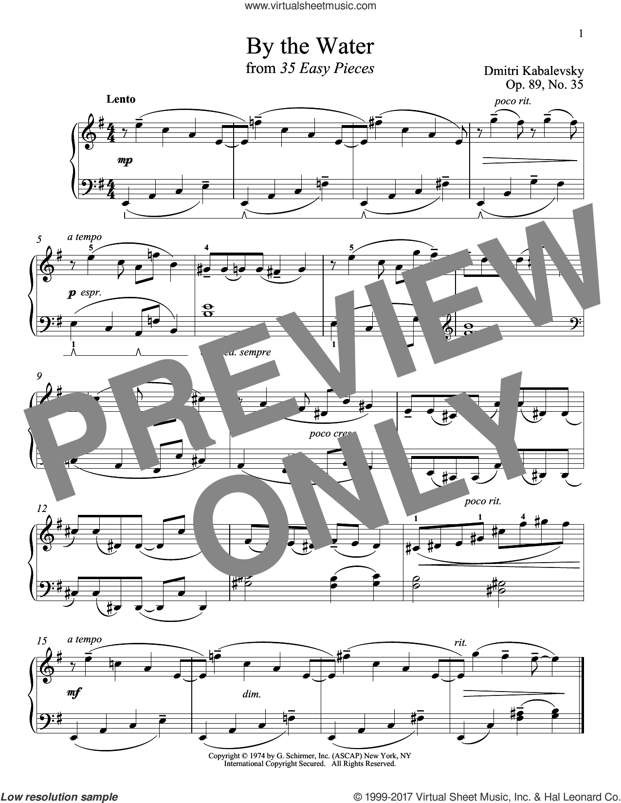 By The Water, Op. 89, No. 35 sheet music for piano solo by Dmitri Kabalevsky, classical score, intermediate skill level