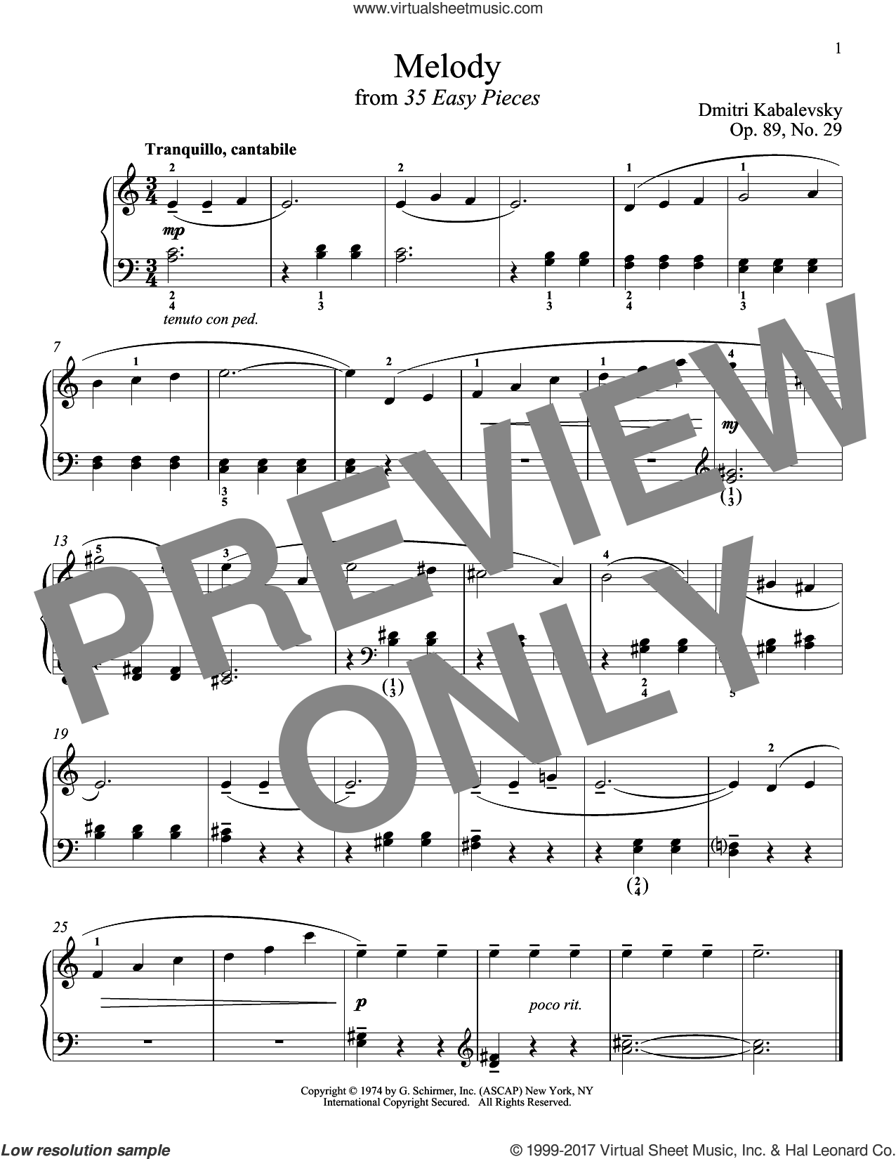 Melody, Op. 89, No. 29 sheet music for piano solo by Dmitri Kabalevsky, classical score, intermediate. Score Image Preview.