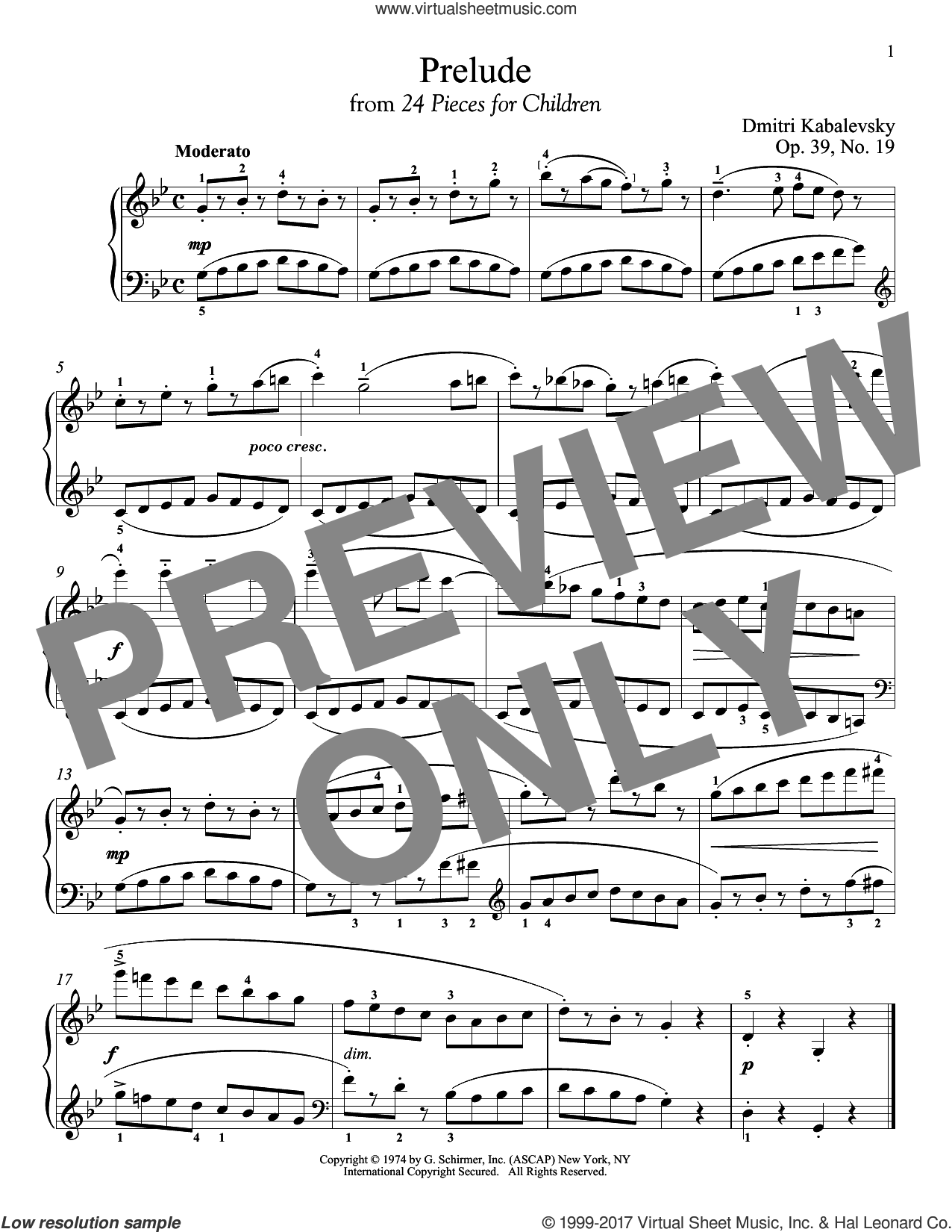 Prelude, Op. 39, No. 19 sheet music for piano solo by Dmitri Kabalevsky. Score Image Preview.