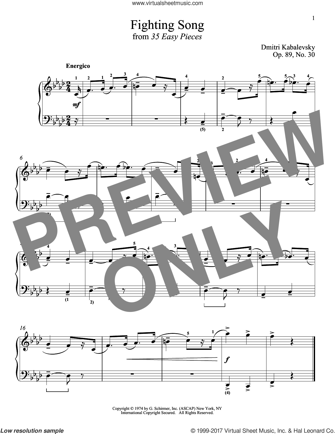 Fighting Song, Op. 89, No. 30 sheet music for piano solo by Dmitri Kabalevsky, classical score, intermediate skill level