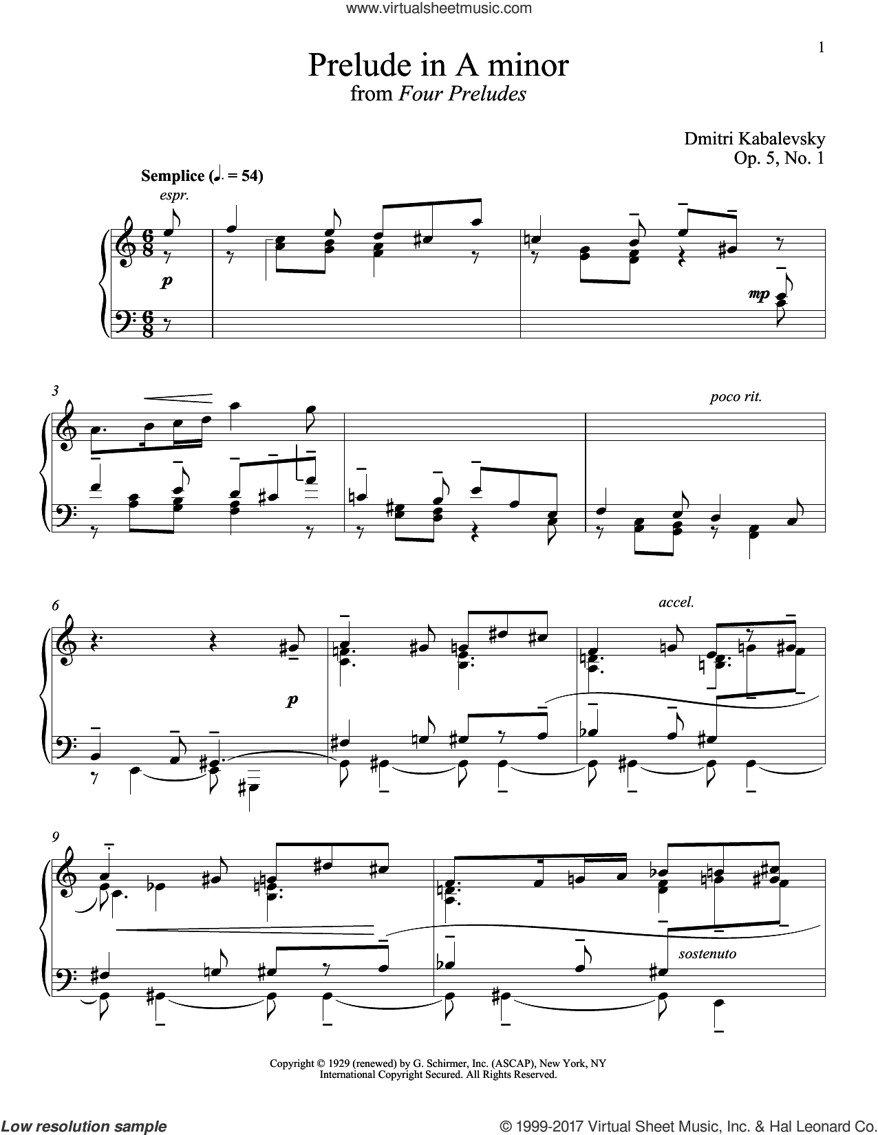 Prelude In A Minor, Op. 5, No. 1 sheet music for piano solo by Dmitri Kabalevsky, classical score, intermediate skill level