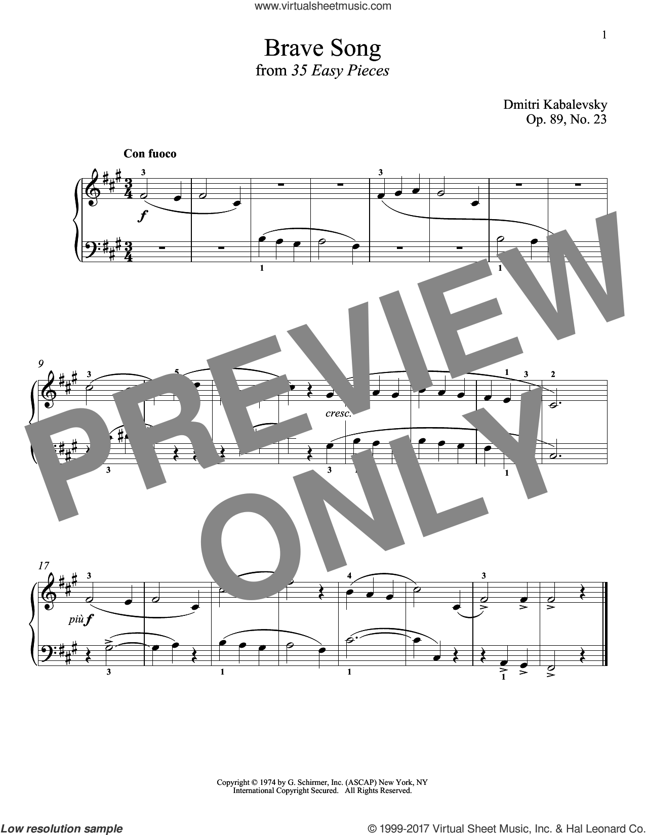 Brave Song sheet music for piano solo by Dmitri Kabalevsky. Score Image Preview.